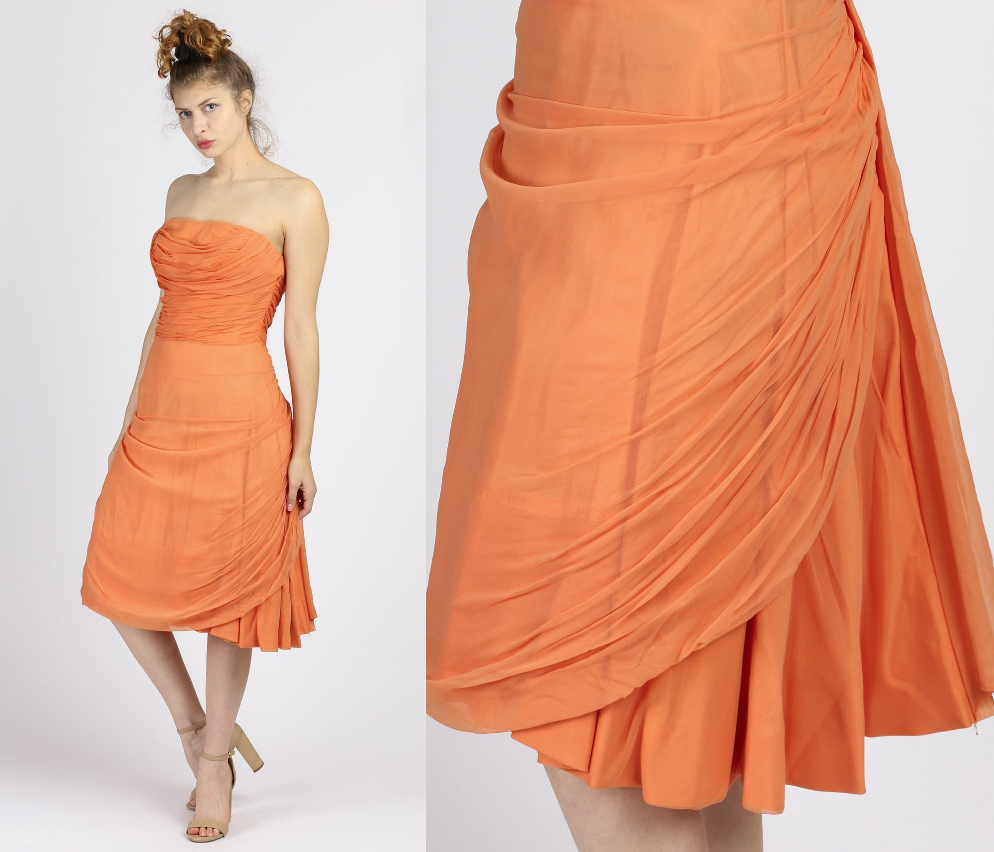 1950s Emma Domb Orange Strapless Party Dress - Small to Medium