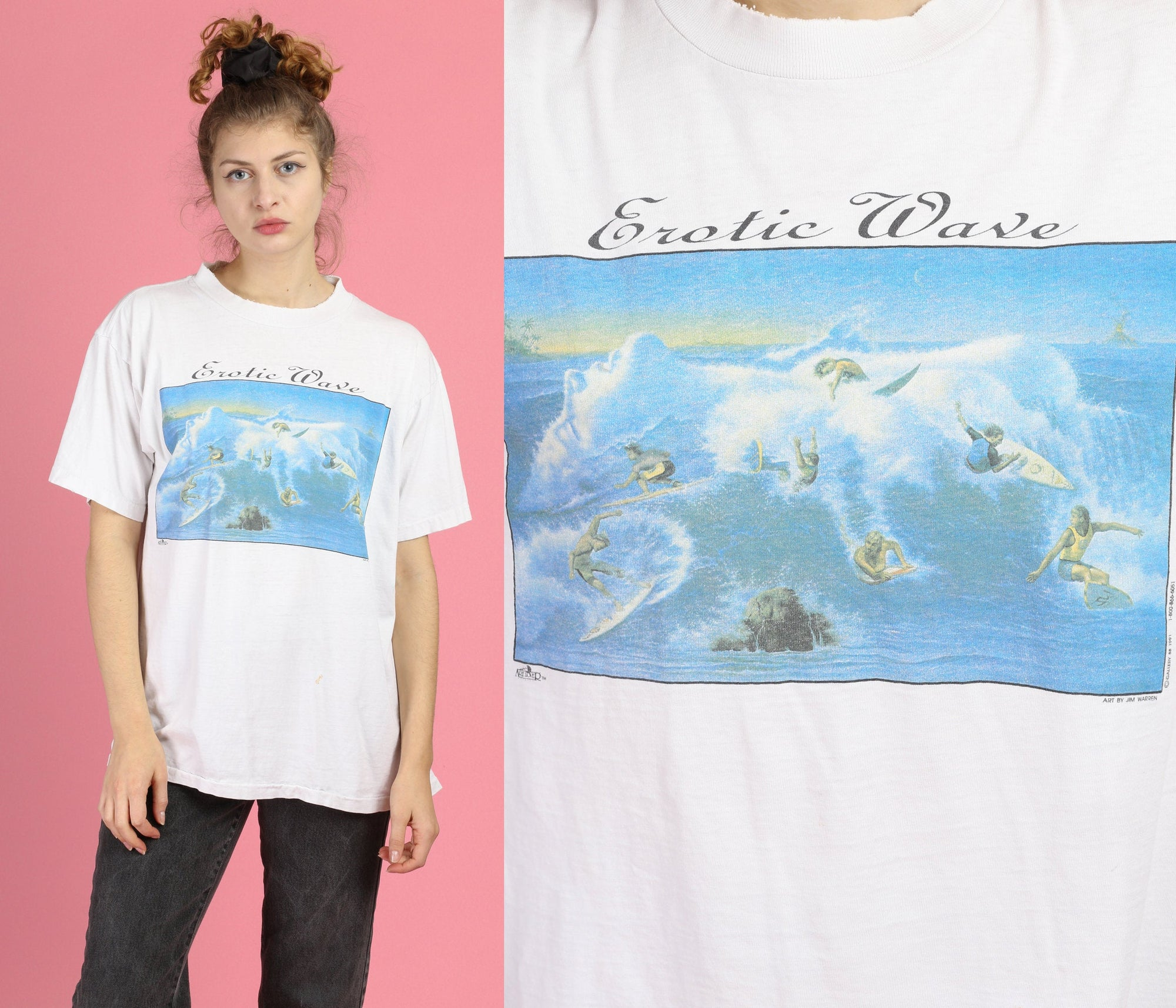 Vintage Erotic Wave Graphic T Shirt - Extra Large