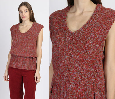 70s 80s Red Knit Low Armhole Top - Medium