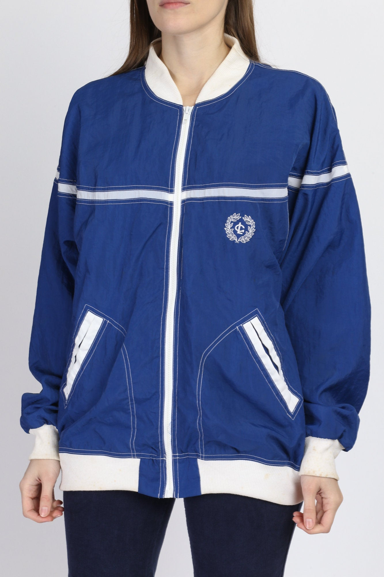 80s Greenline Sport Blue & White Trim Windbreaker - Men's Large