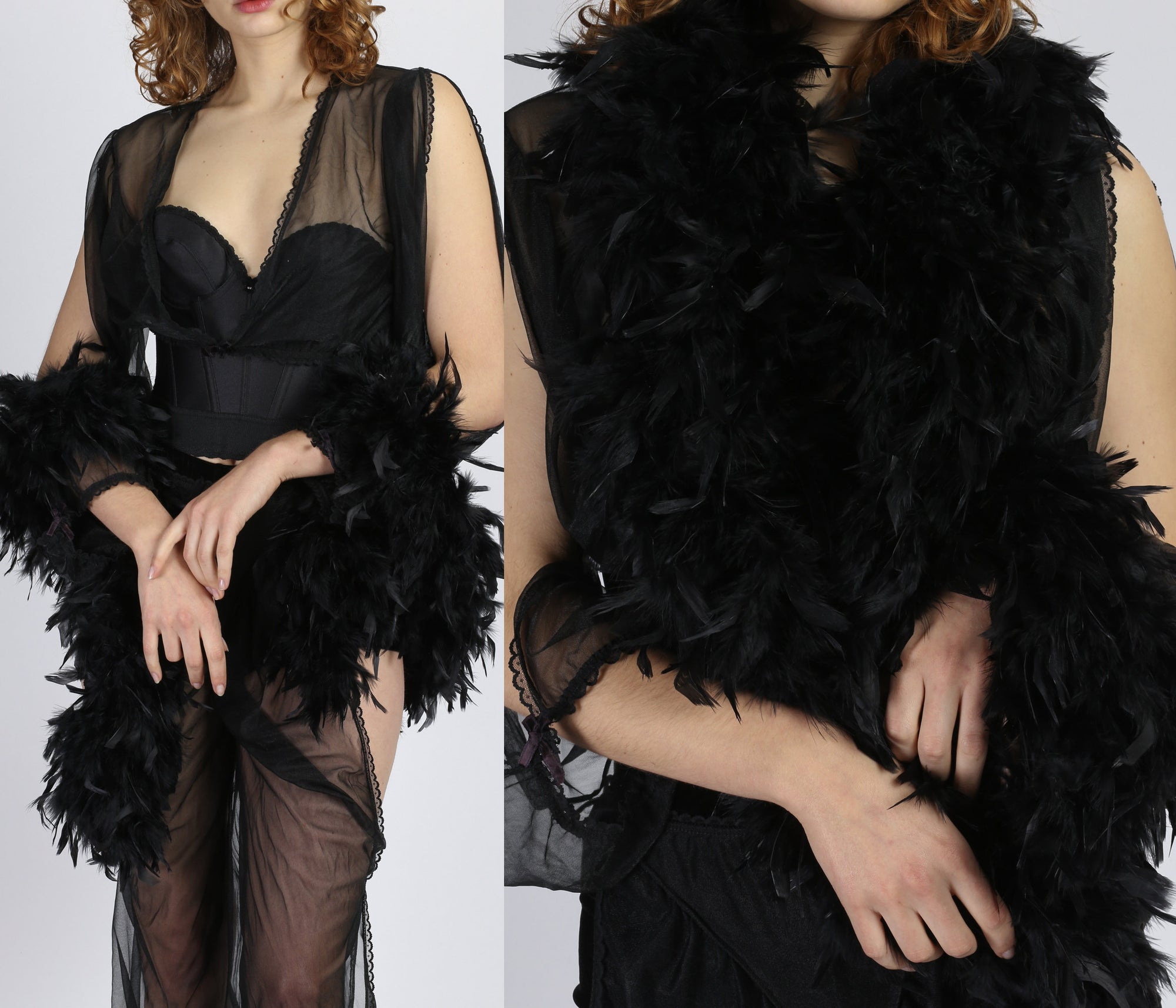 Vintage Black Feather Boa