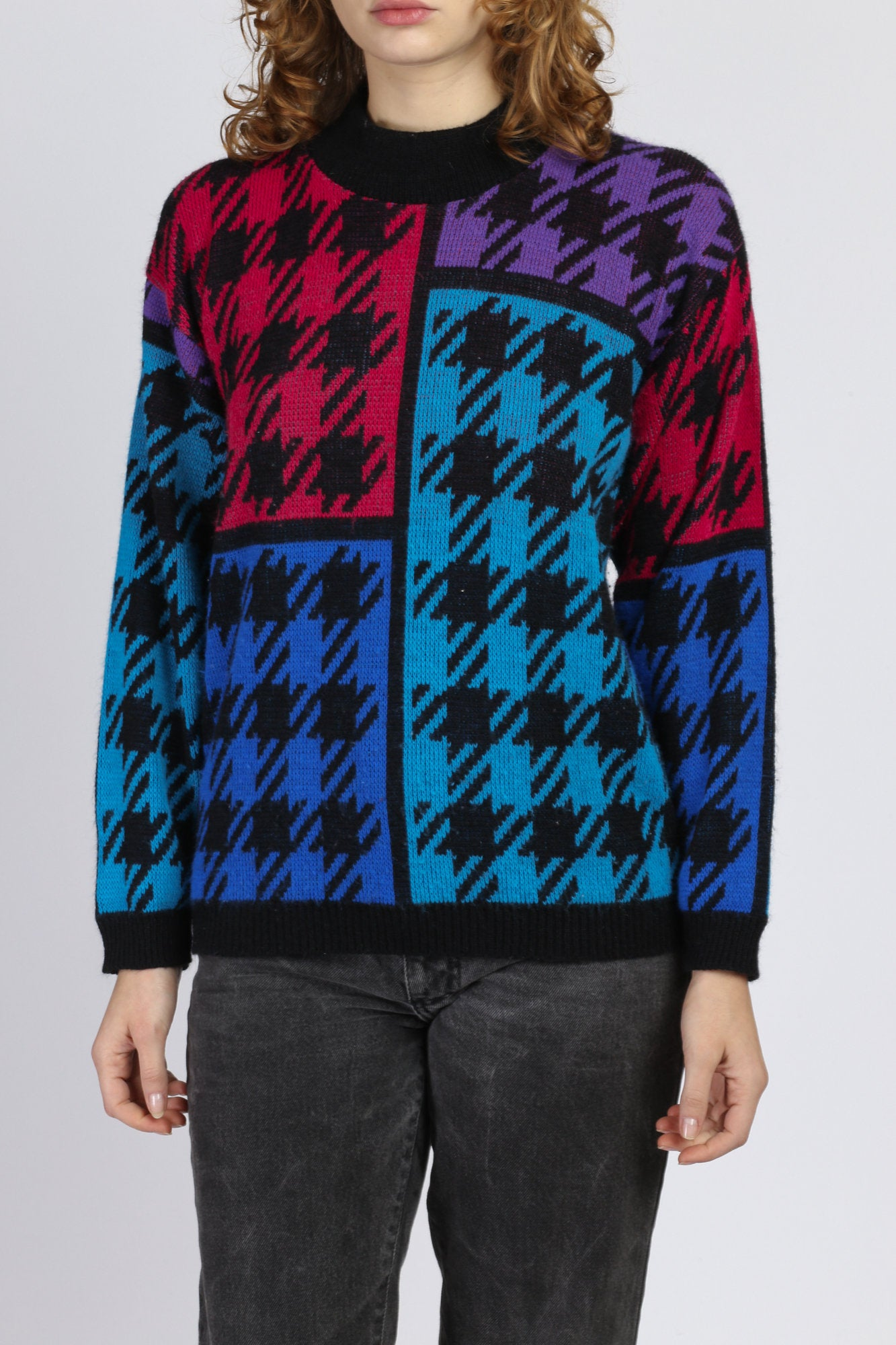 Vintage Color Block Houndstooth Sweater - Small