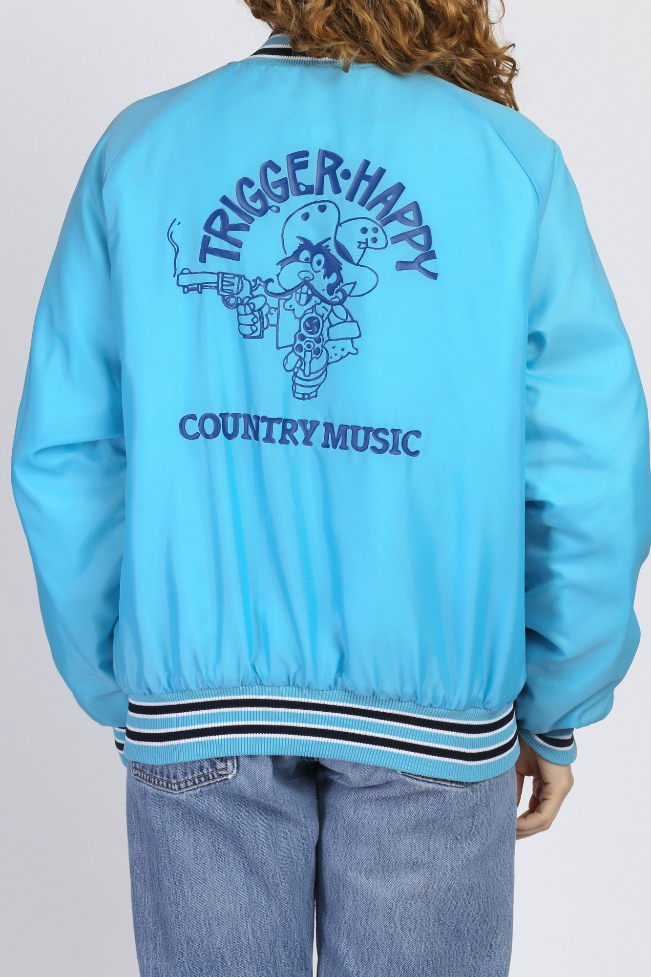80s Blue Country Music Varsity Jacket - Men's Large