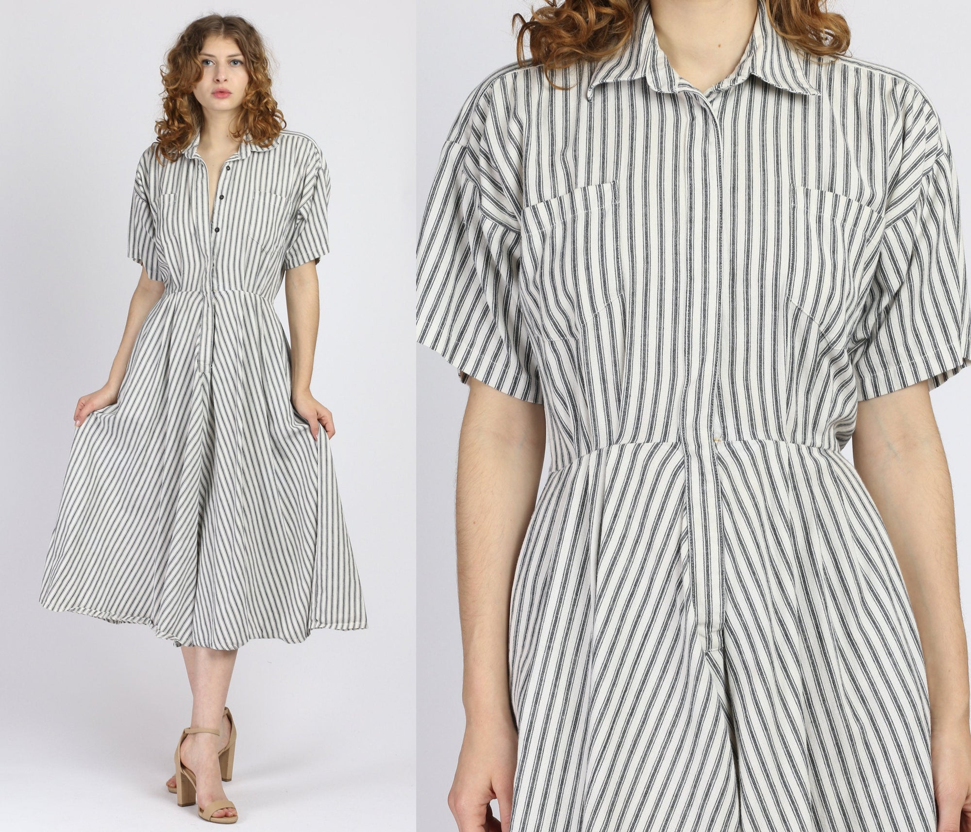 Vintage Norma Kamali Designer Striped Shirtdress - Small