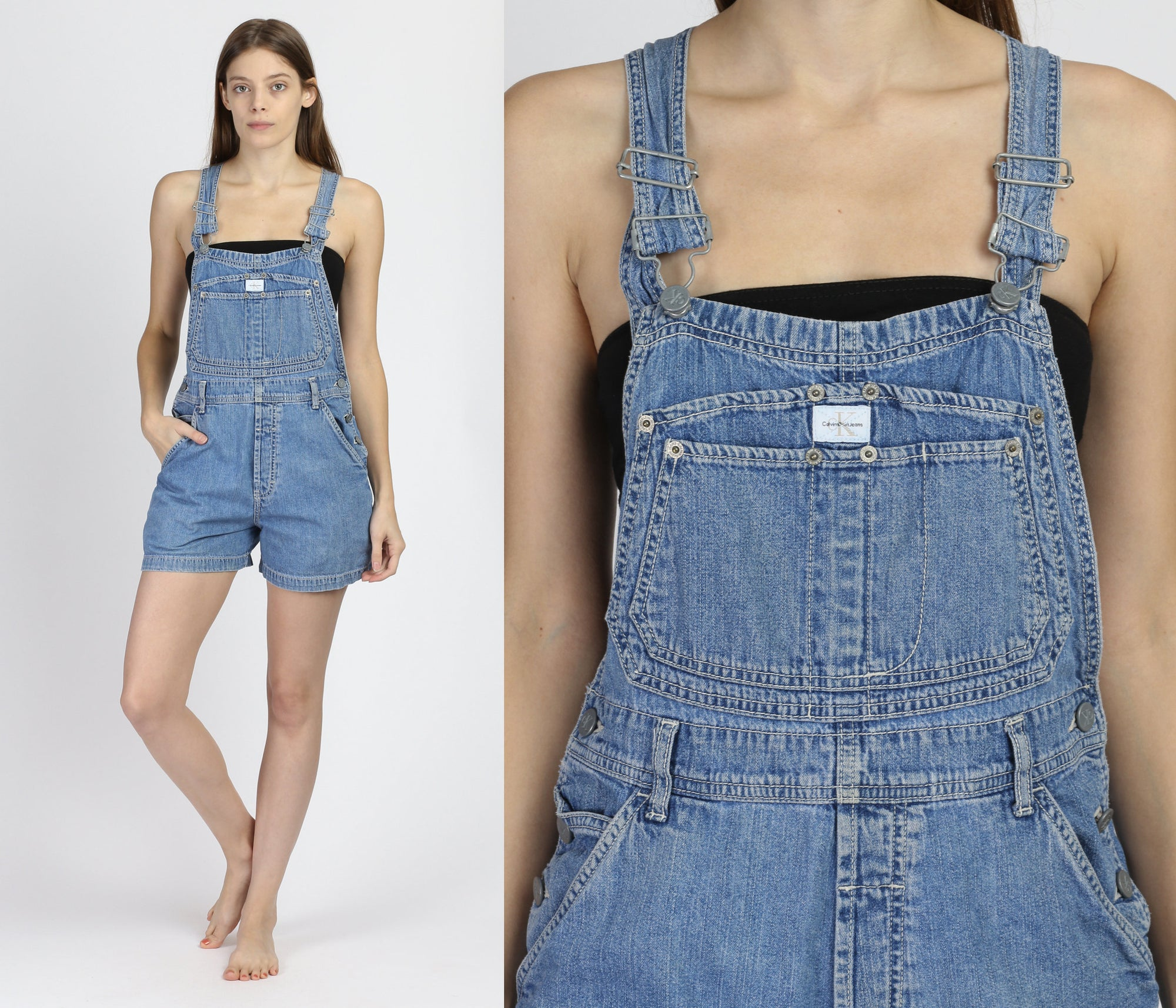 90s Calvin Klein Denim Overall Shorts - Medium