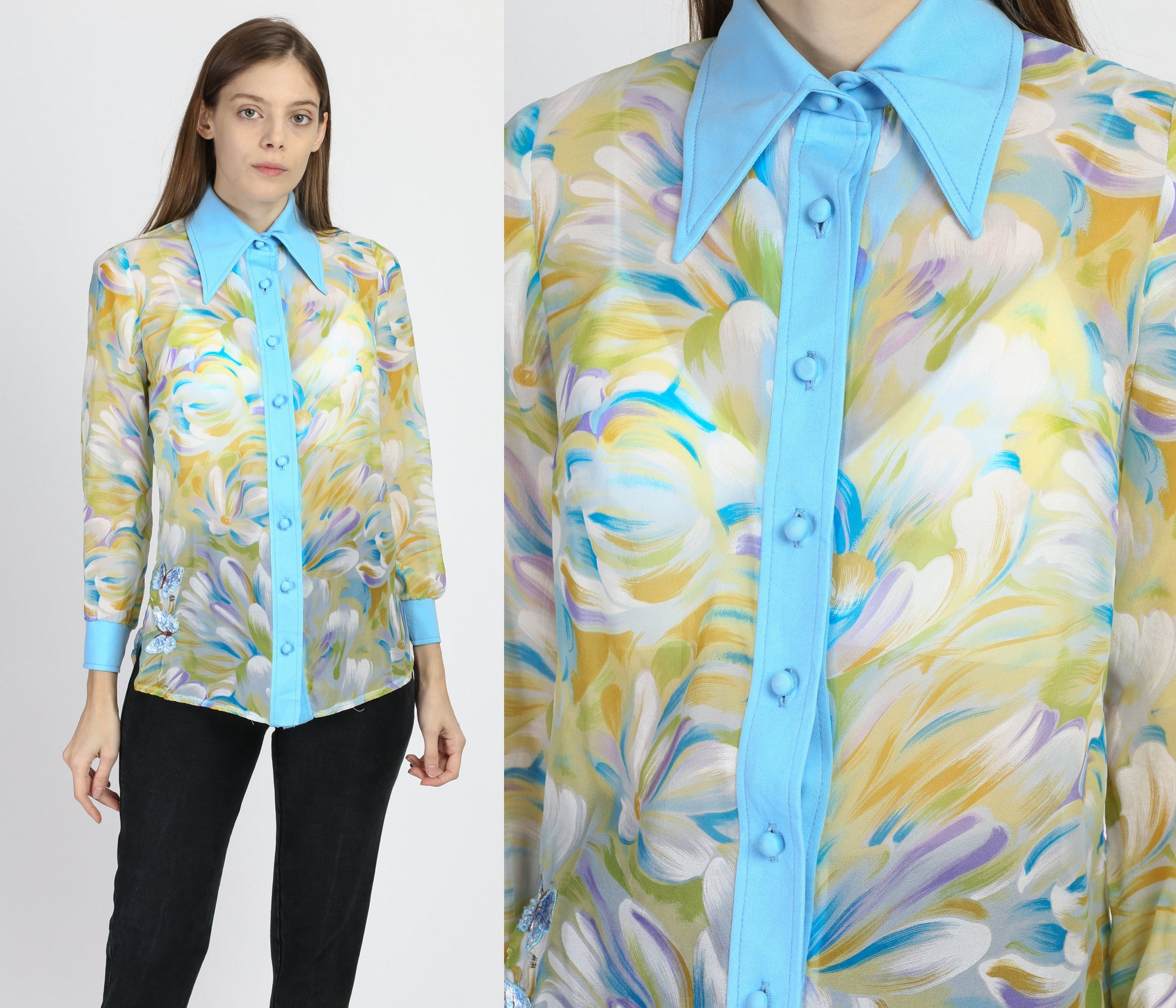 70s Sheer Floral Watercolor Blouse - Small