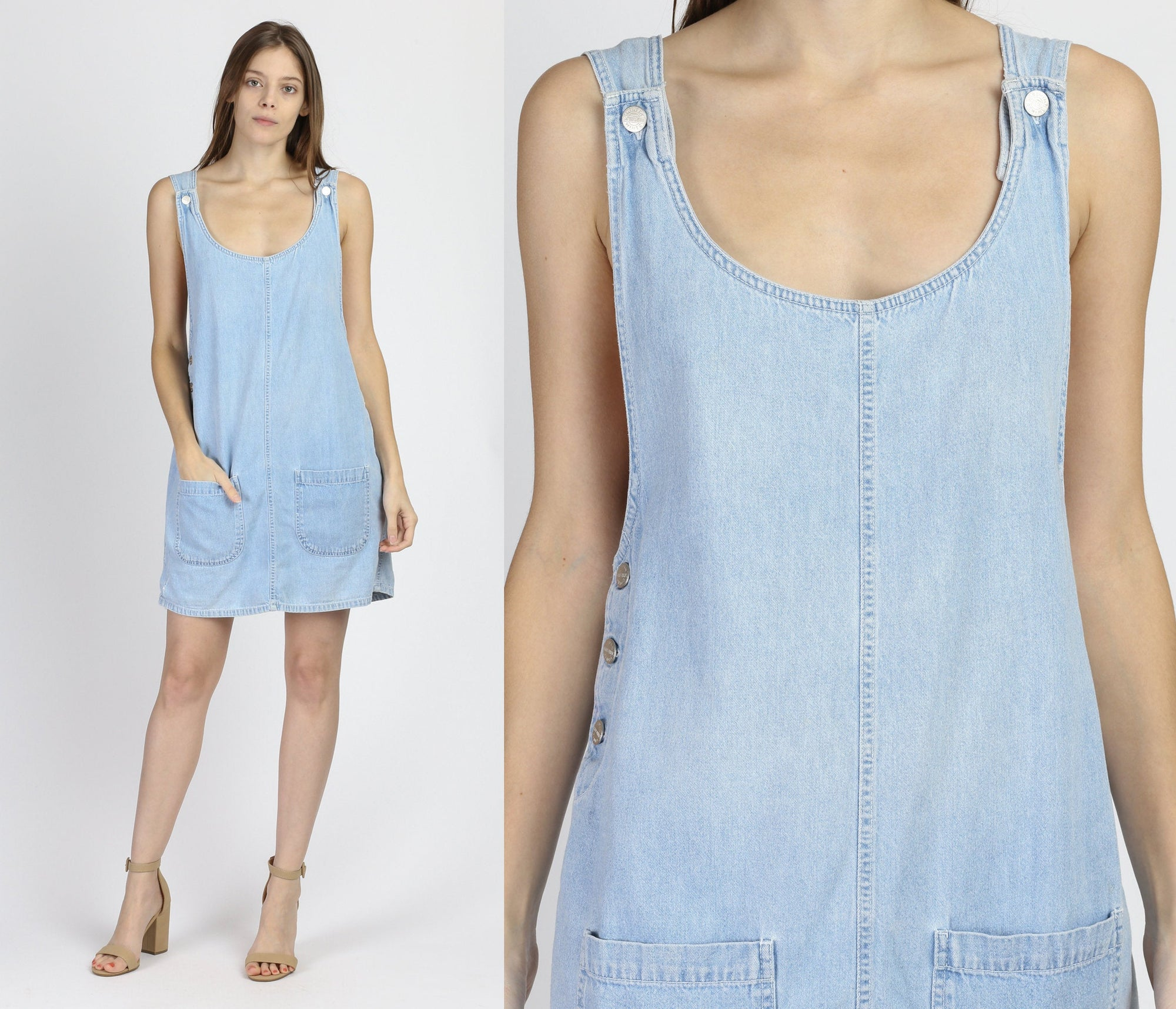 90s Denim Mini Pinafore - Medium
