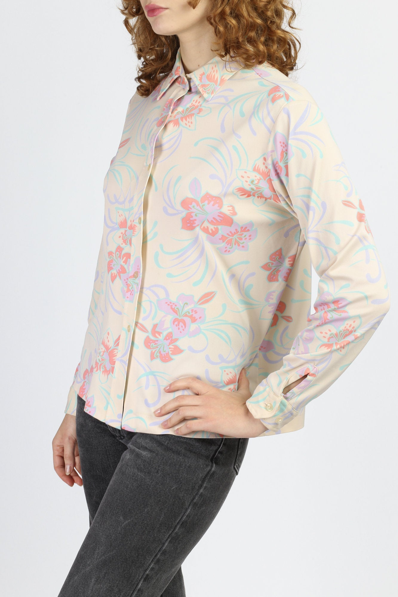 70s Floral Pointed Collar Top - Extra Large