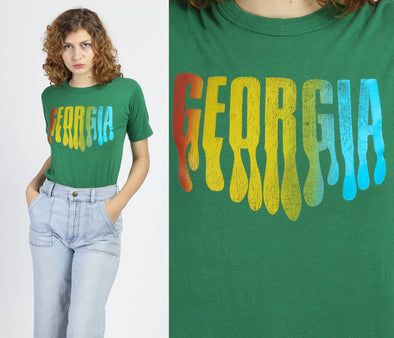 Retro 80s Georgia Graphic Tourist Tee - Small to Medium