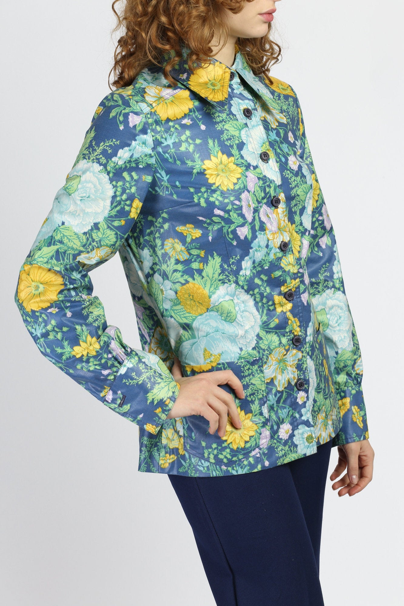 60s Addenda Blue Floral Cuffed Blouse - Medium