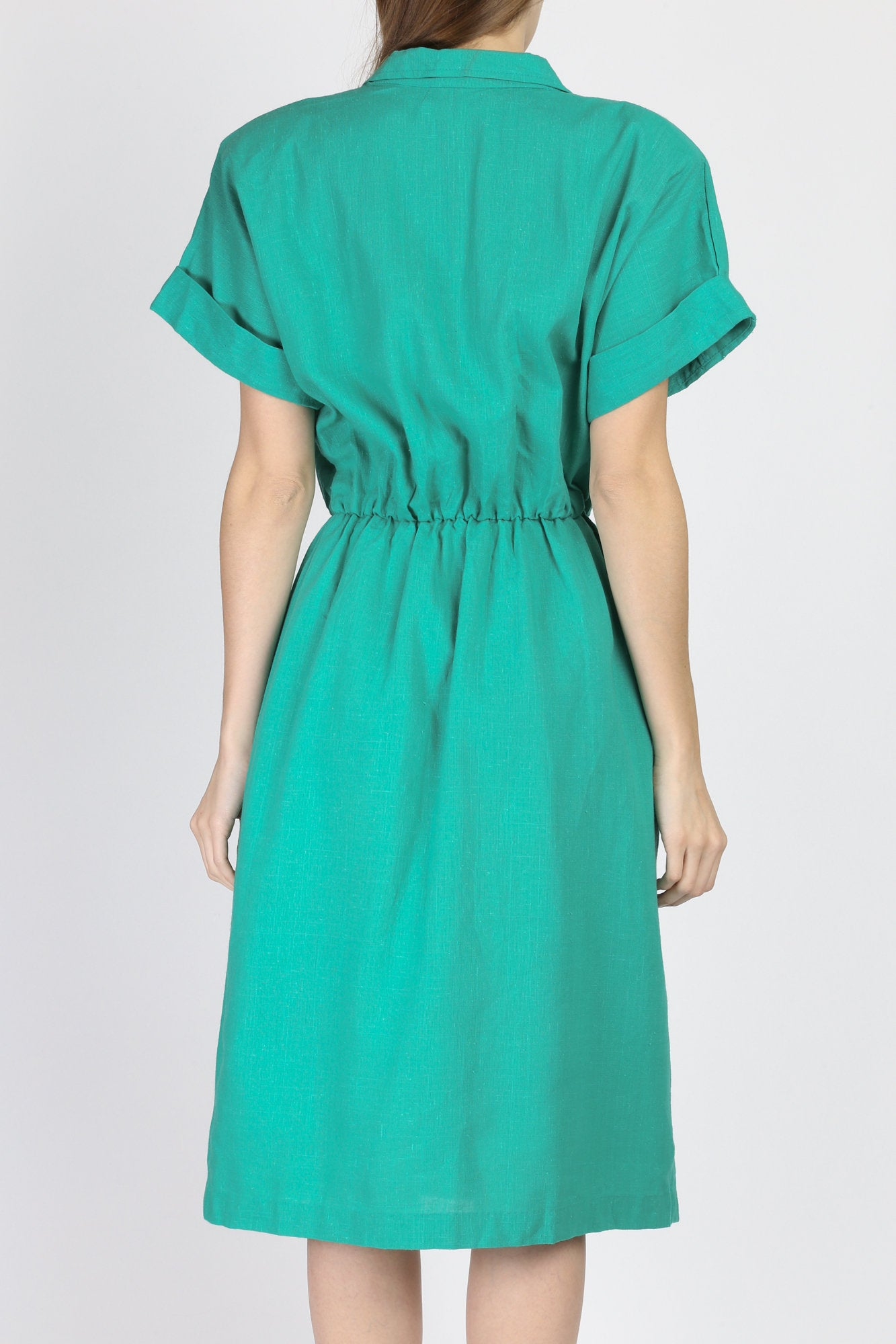 80s Green Midi Wrap Dress - Large