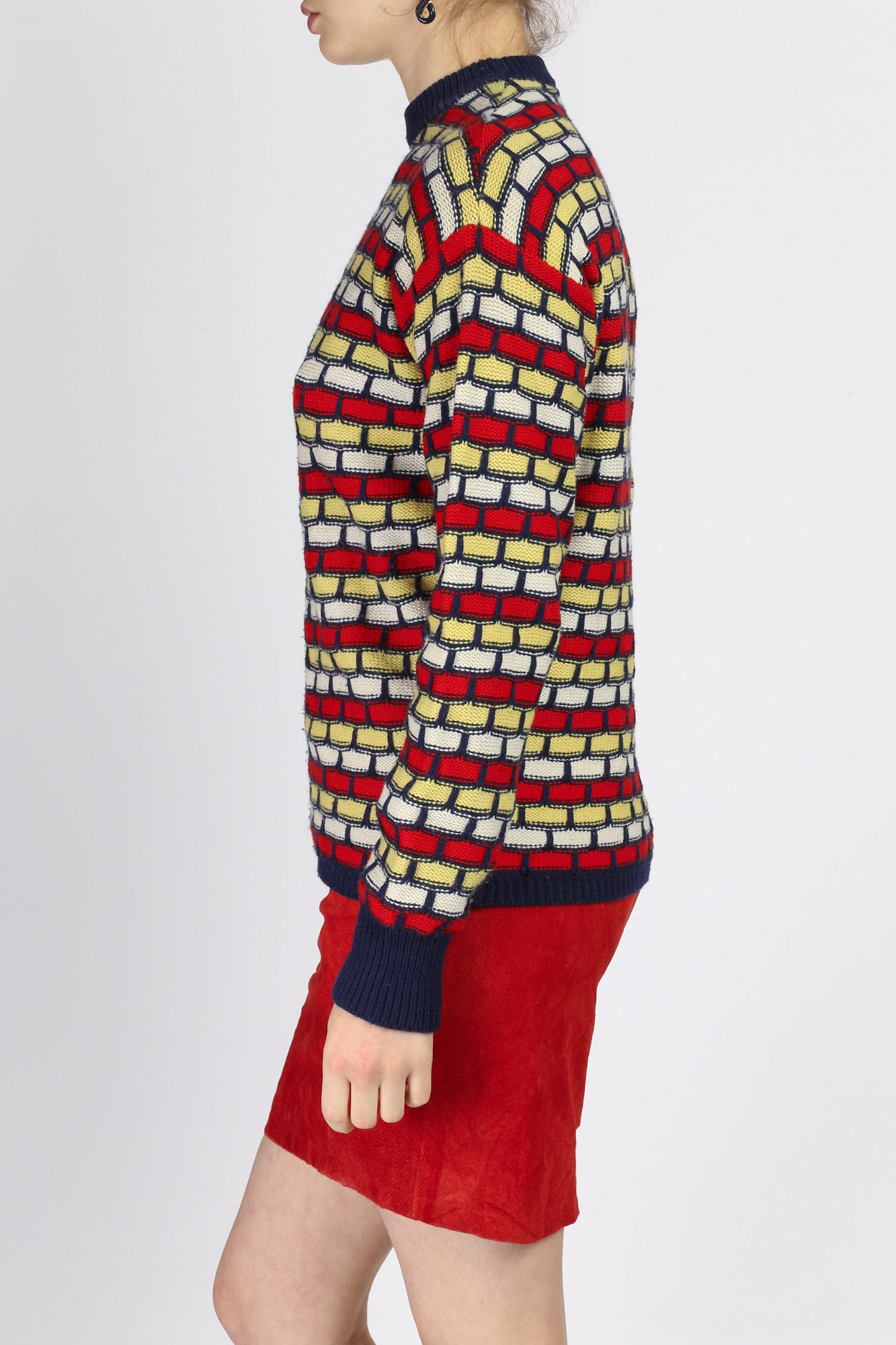 Retro 70s Colorful Mockneck Sweater - Extra Small