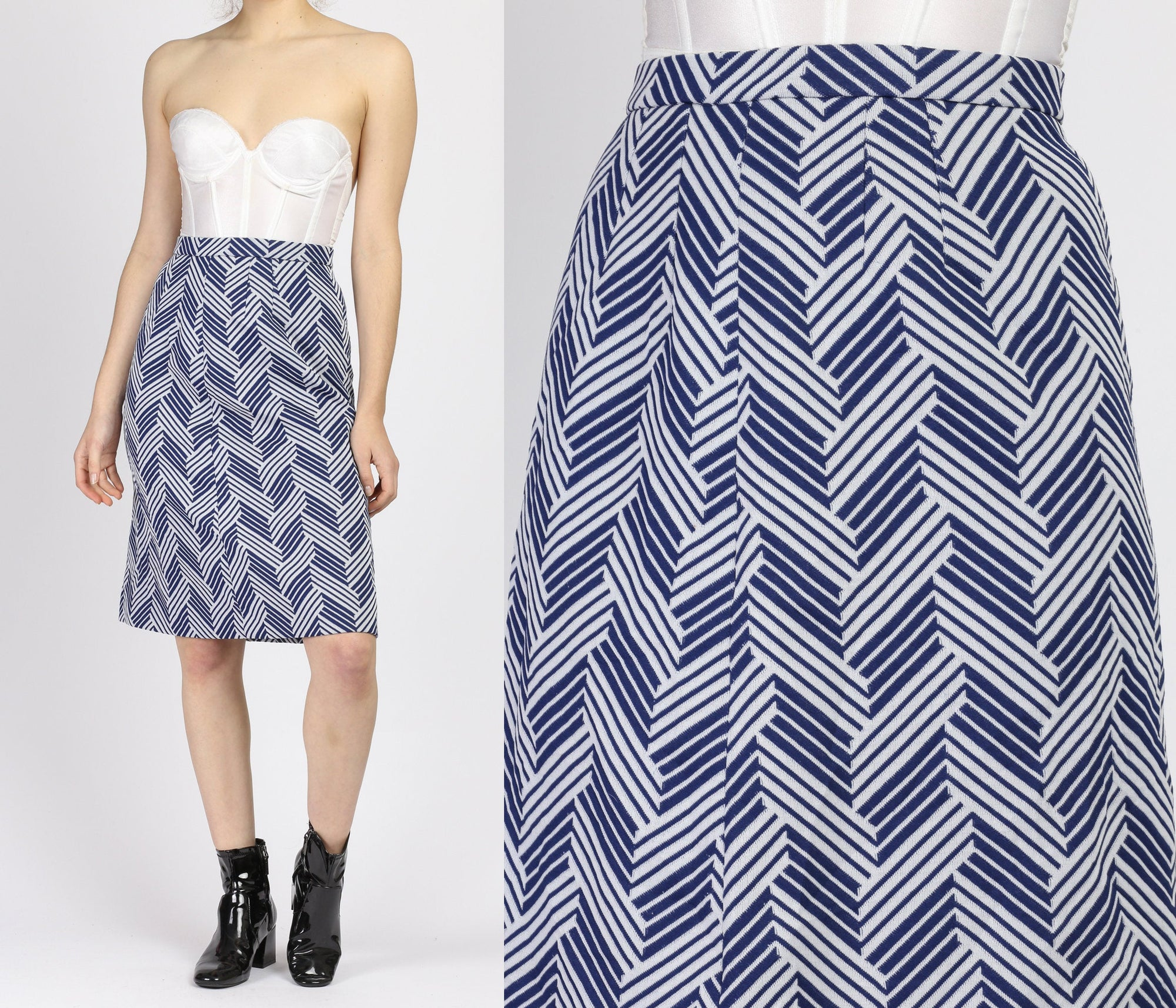 70s Blue & White Herringbone Skirt - Small