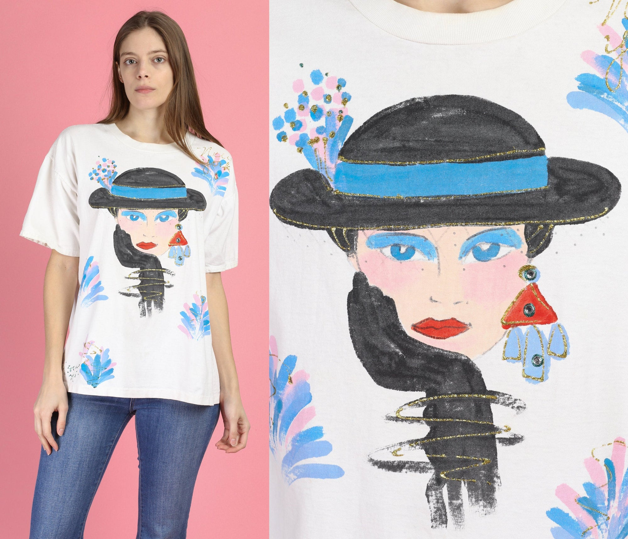 Vintage 1920s Dame Puff Paint T Shirt - Extra Large