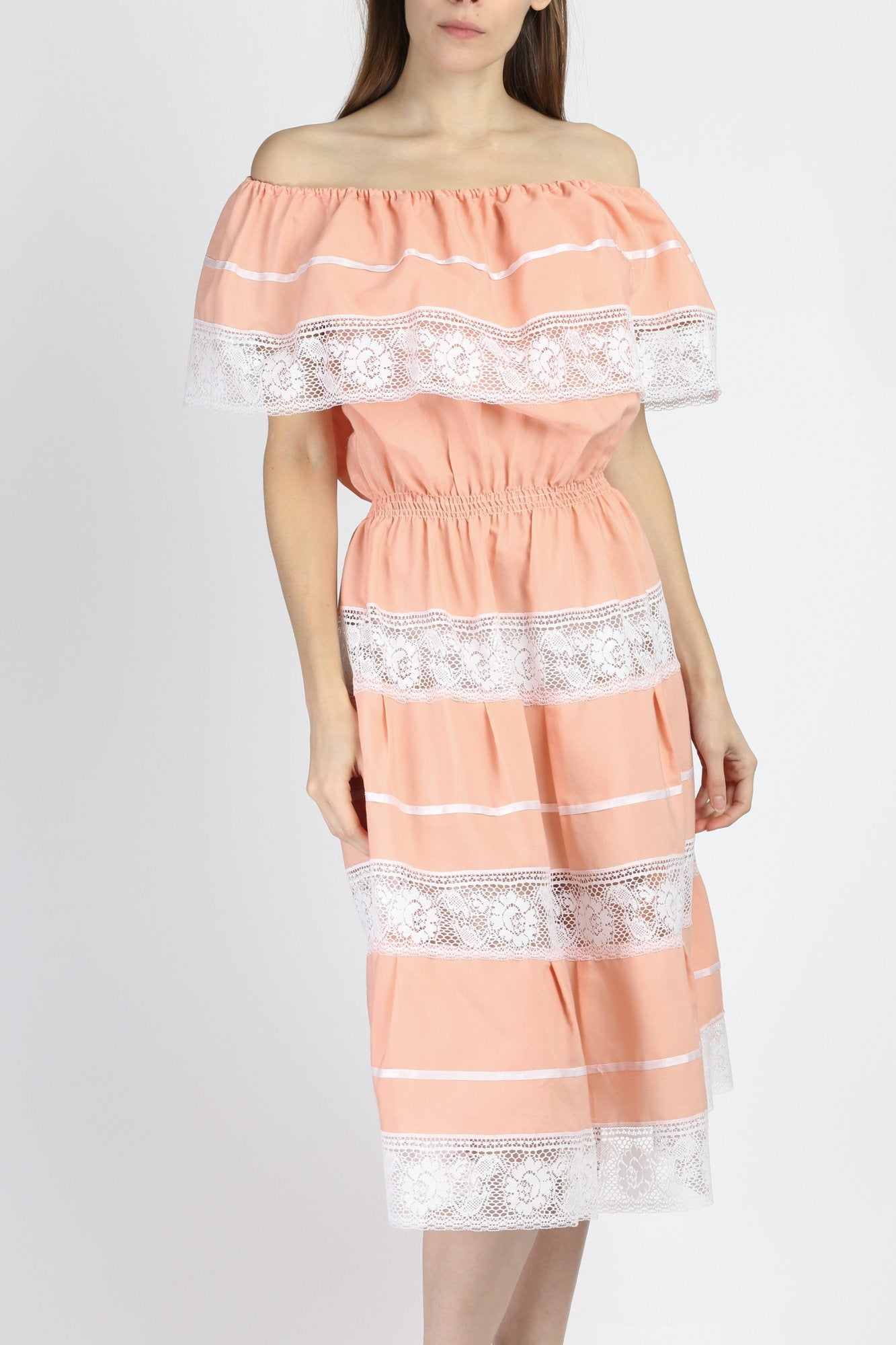 70s Mexican Peach Pink Lace Tiered Midi Dress - Large to XL