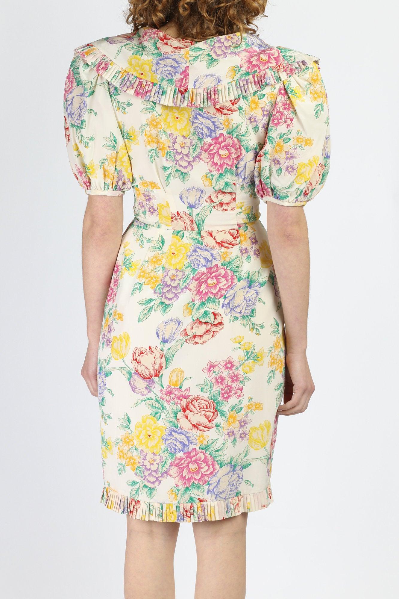 80s Albert Nipon Floral Silk Dress - Extra Small to Small