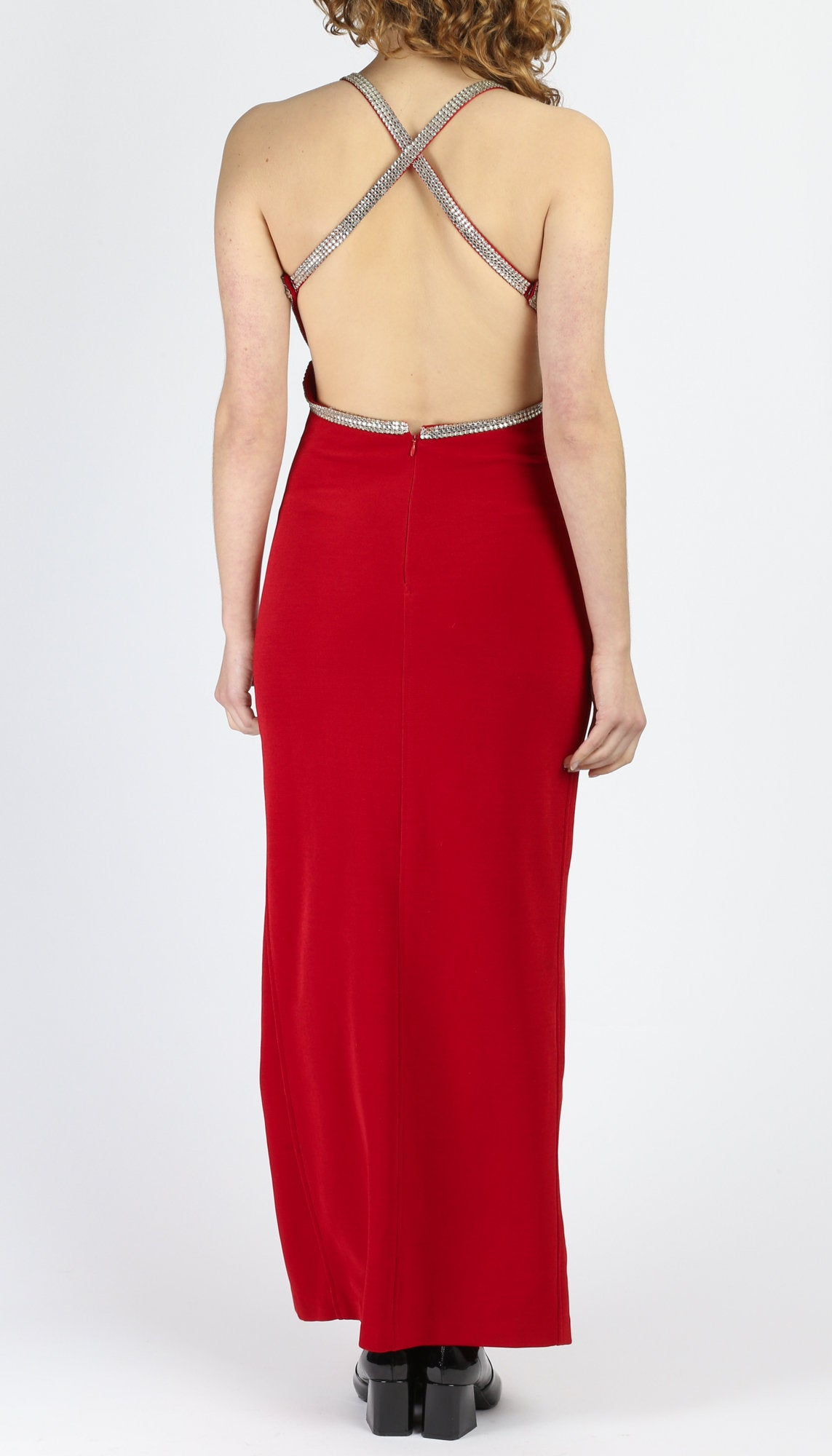 80s Red Backless Maxi Dress - Small to Medium
