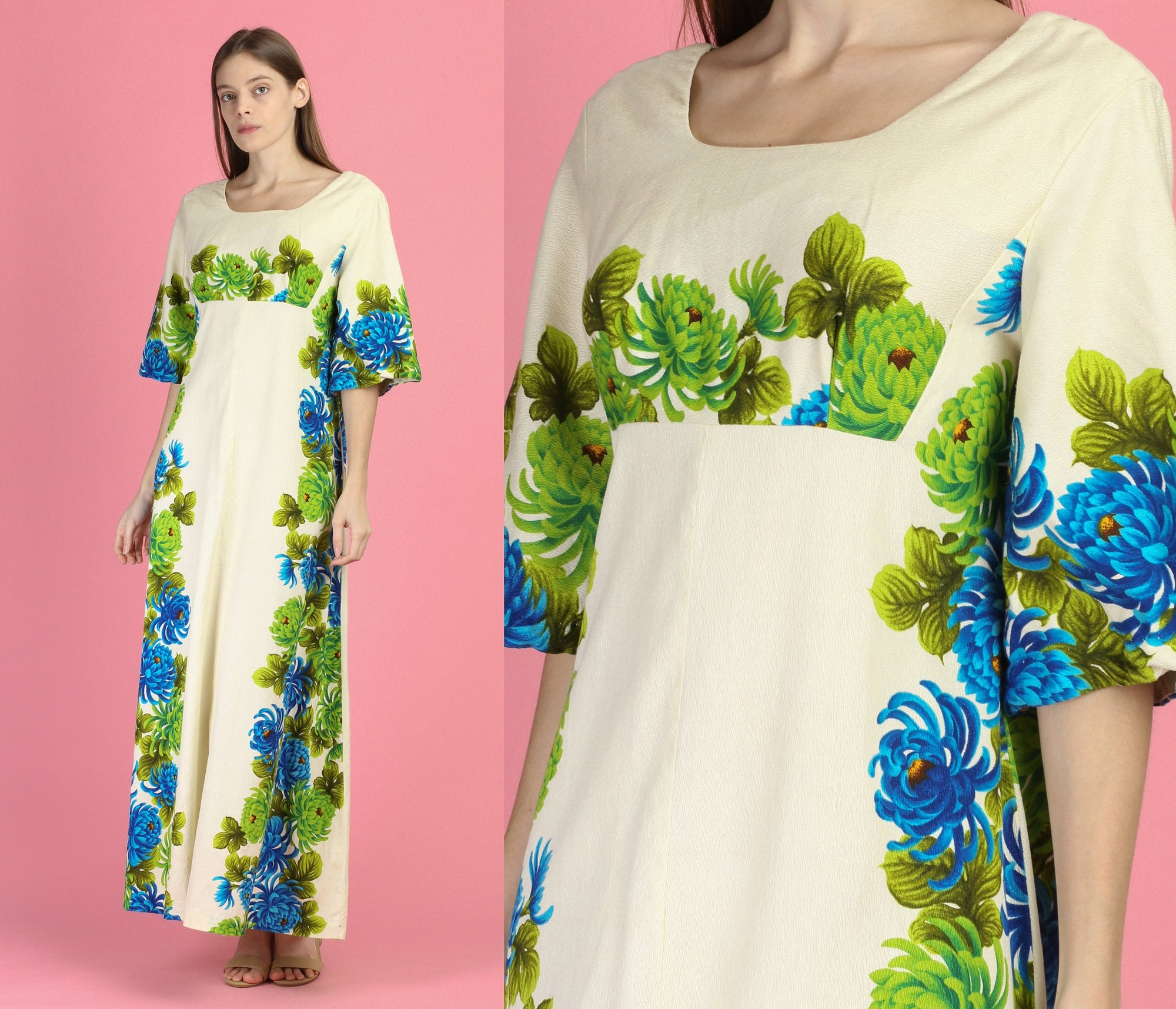 60s Hawaiian Ui-Maikai  Floral Maxi Dress - Medium to Large