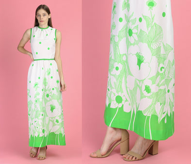 70s Green & White Floral Polka Dot Maxi Dress - XS to Small