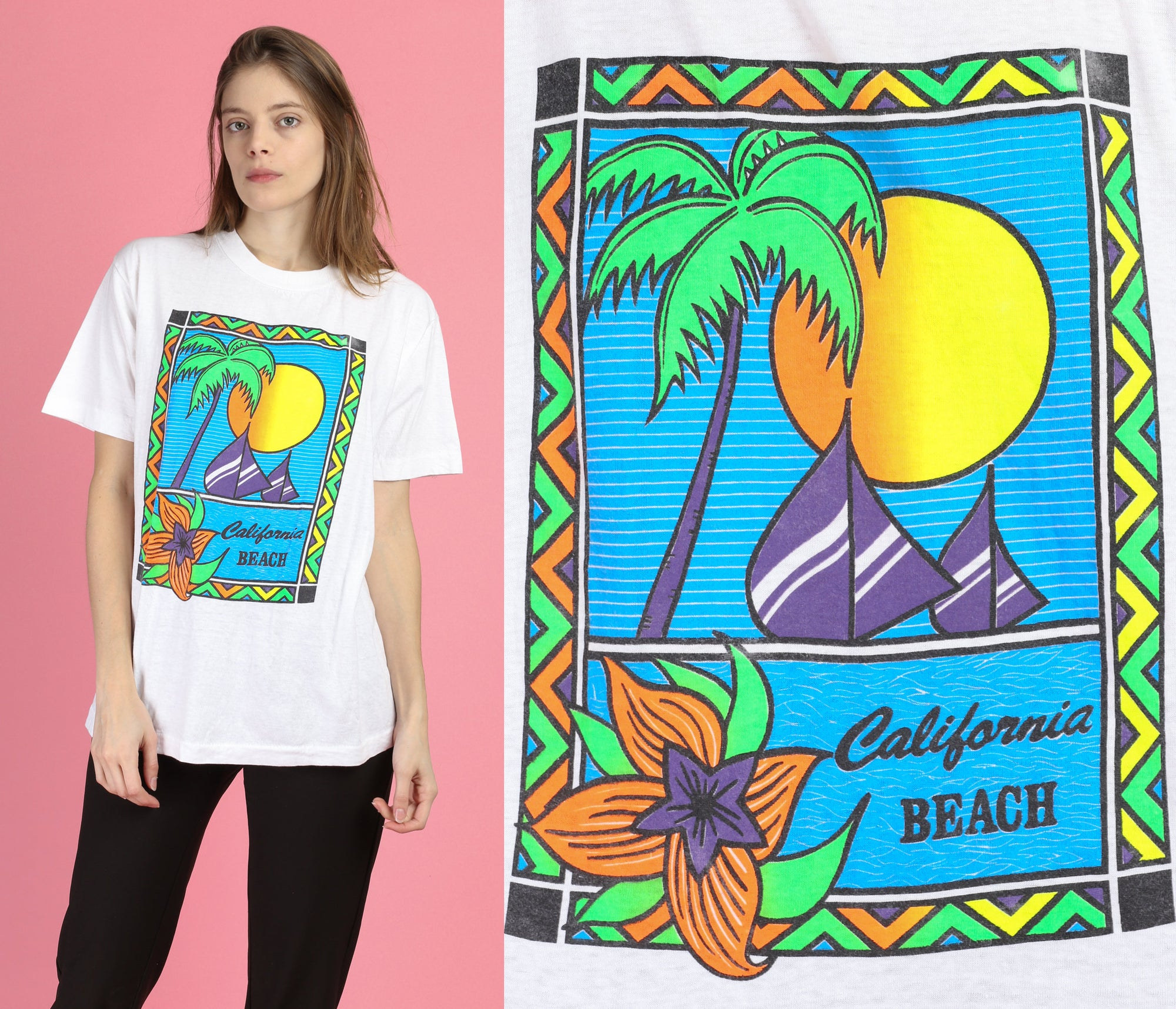 90s California Beach T Shirt - Large