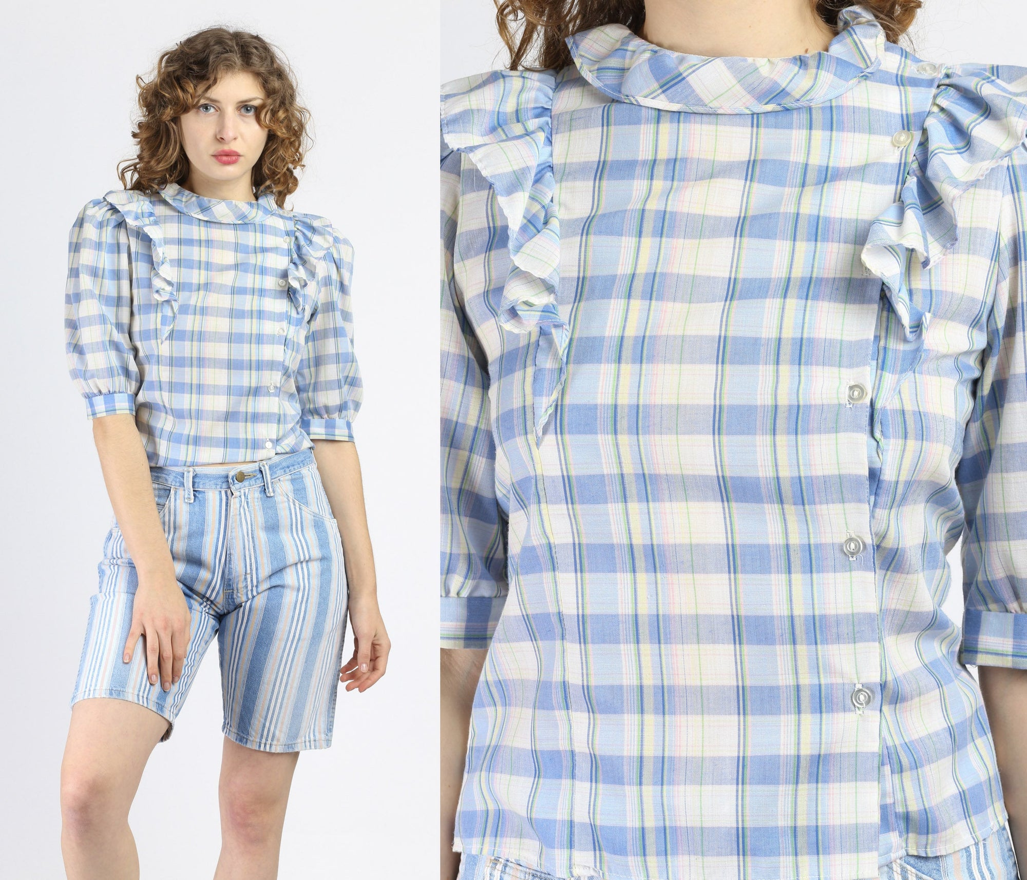 Vintage Blue Plaid Ruffle Blouse - Small