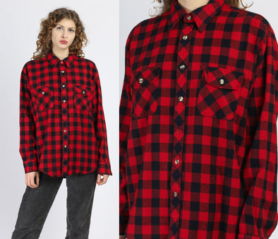 80s Buffalo Plaid Shirt - Men's XL