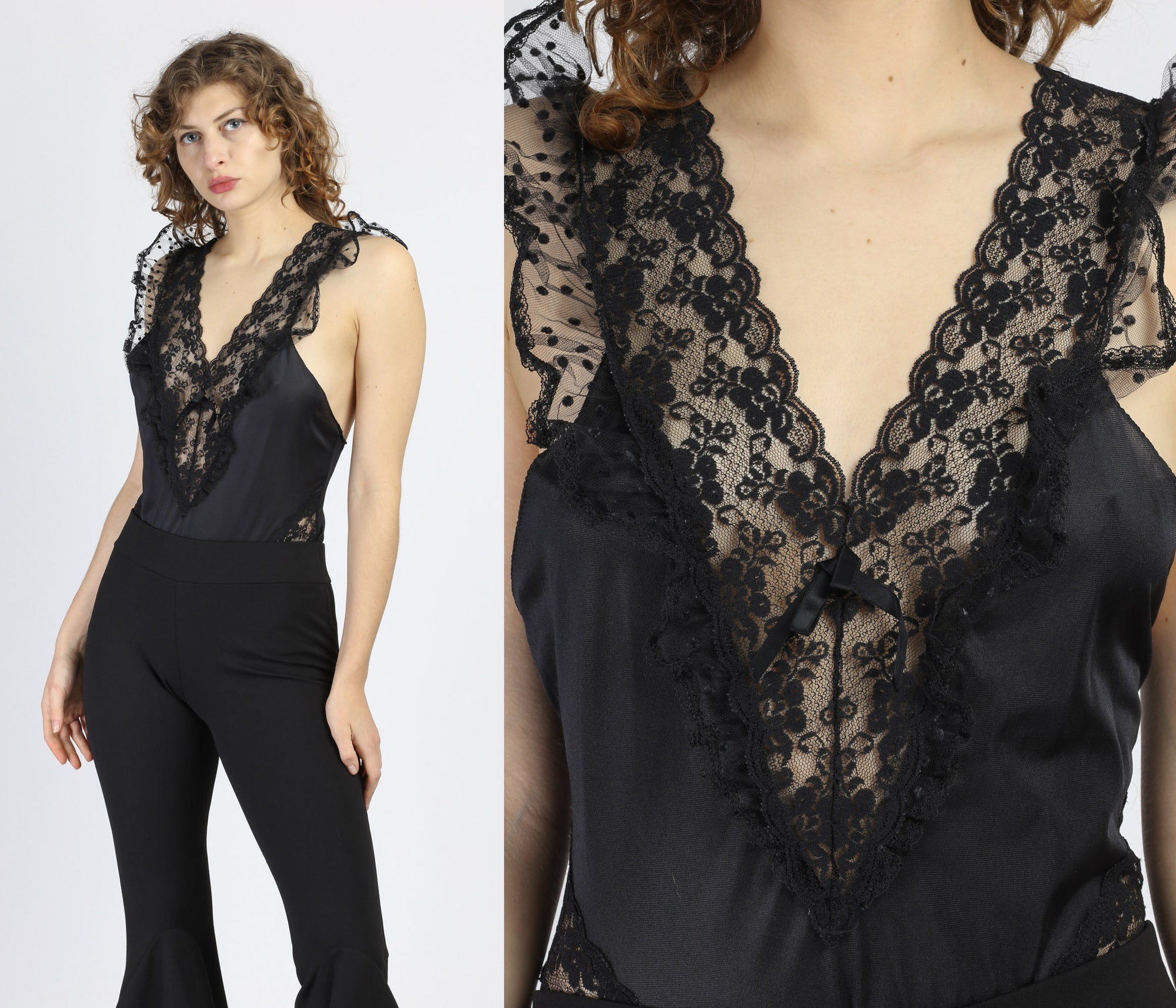 Vintage Black Lace Teddy - Medium