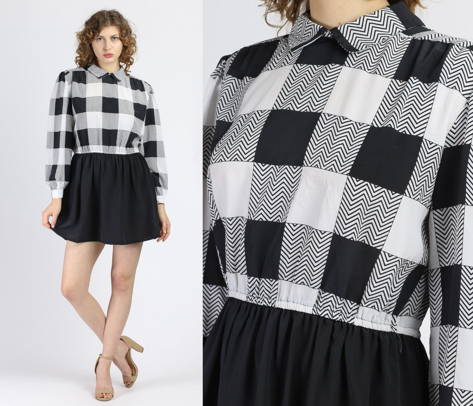 80s Black & White Gingham Mini Dress - Medium