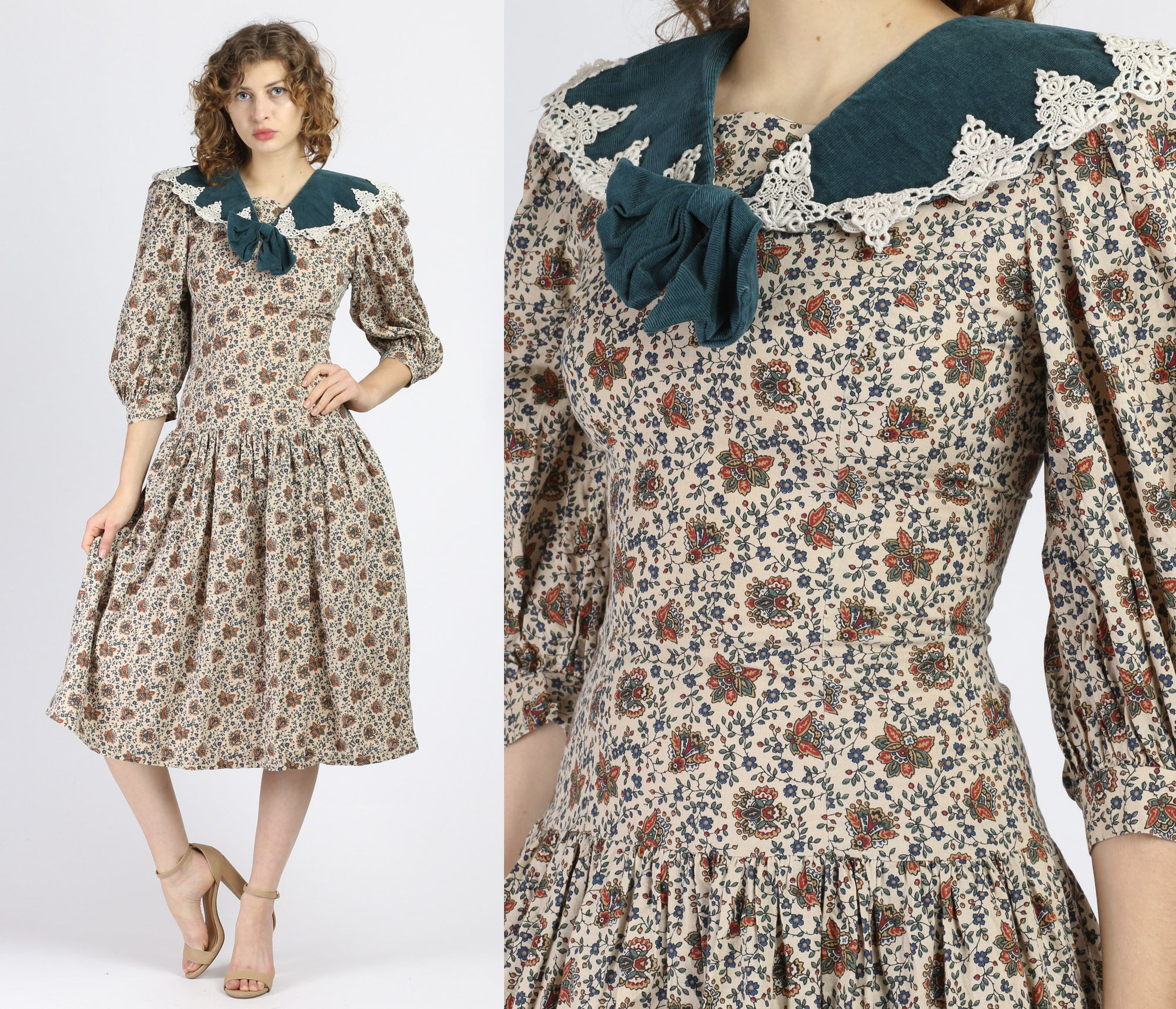 80s Corduroy & Lace Collar Floral Midi Dress - Small