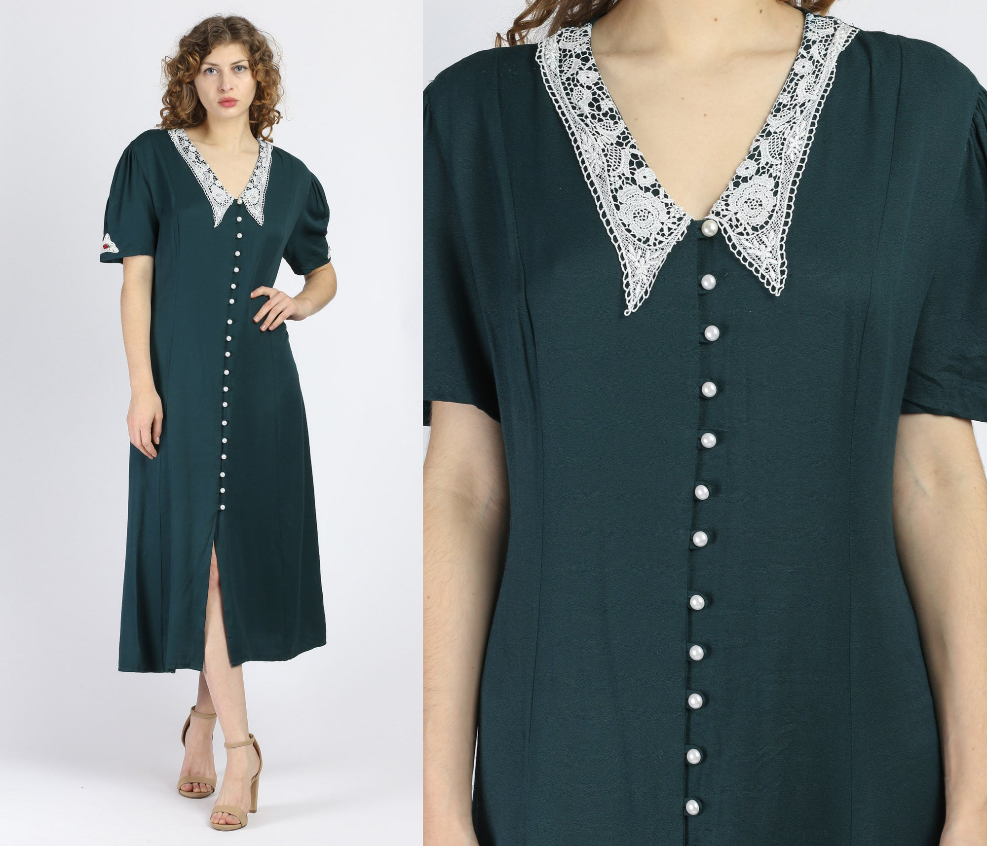 90s Emerald Green Lace Chelsea Collar Midi Dress - Extra Large