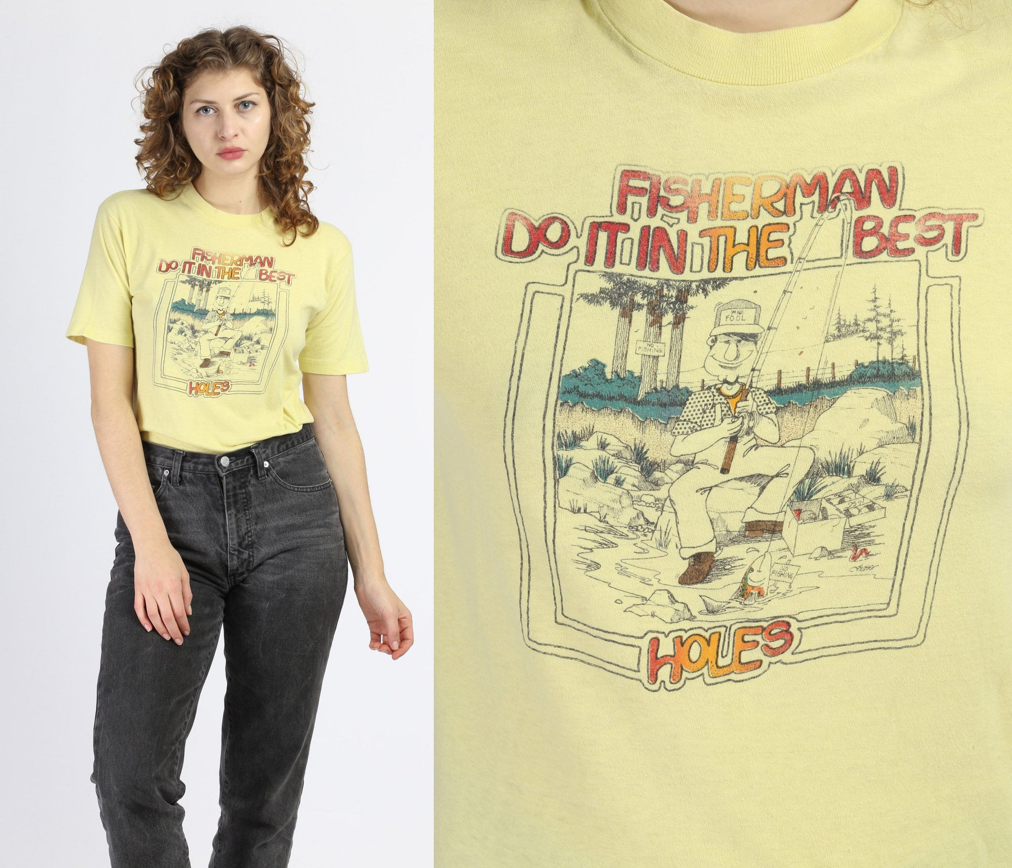 "80s ""Fishermen Do It In The Best Holes"" Tee - Small"