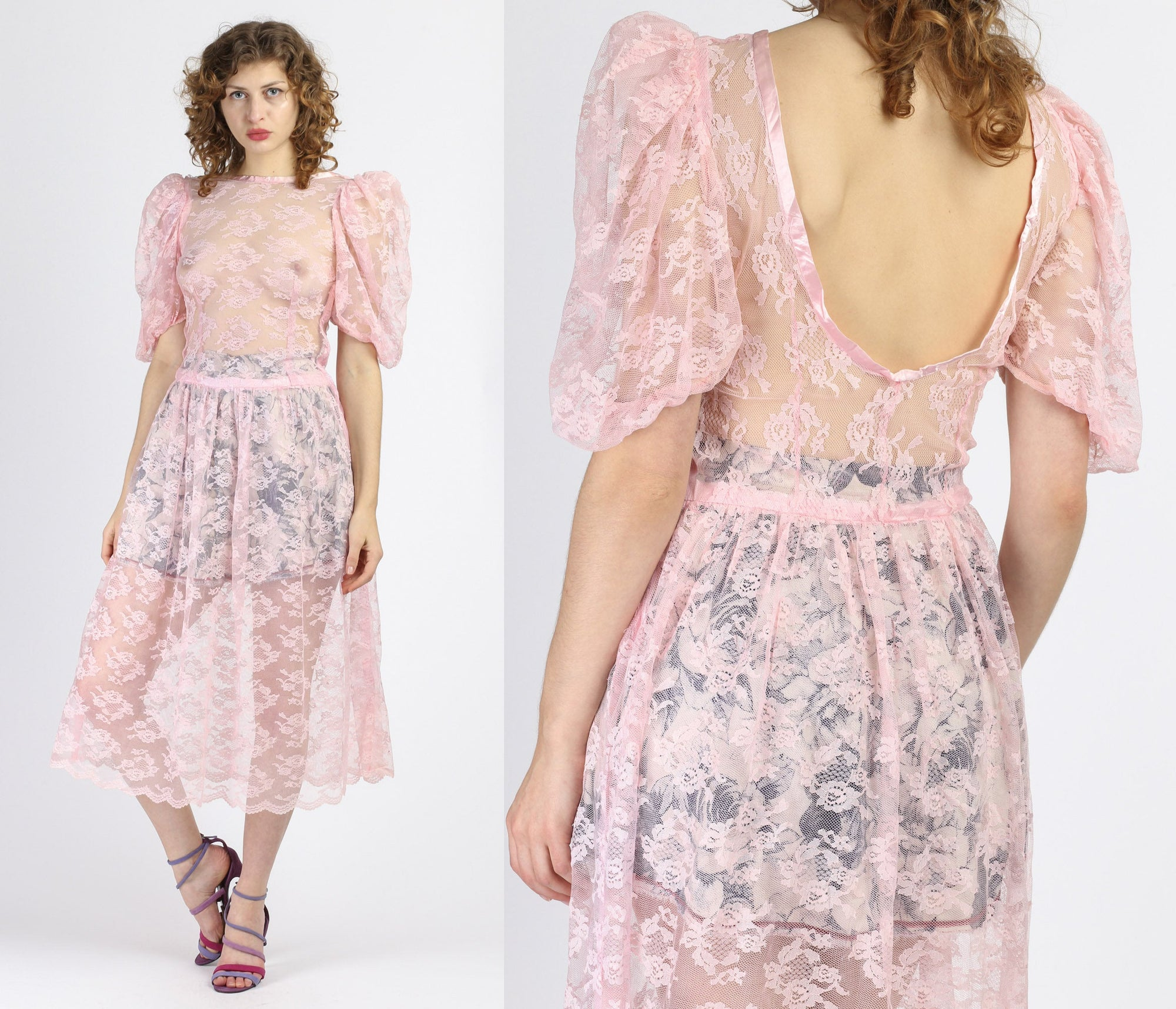 80s Sheer Pink Lace Dress - Medium