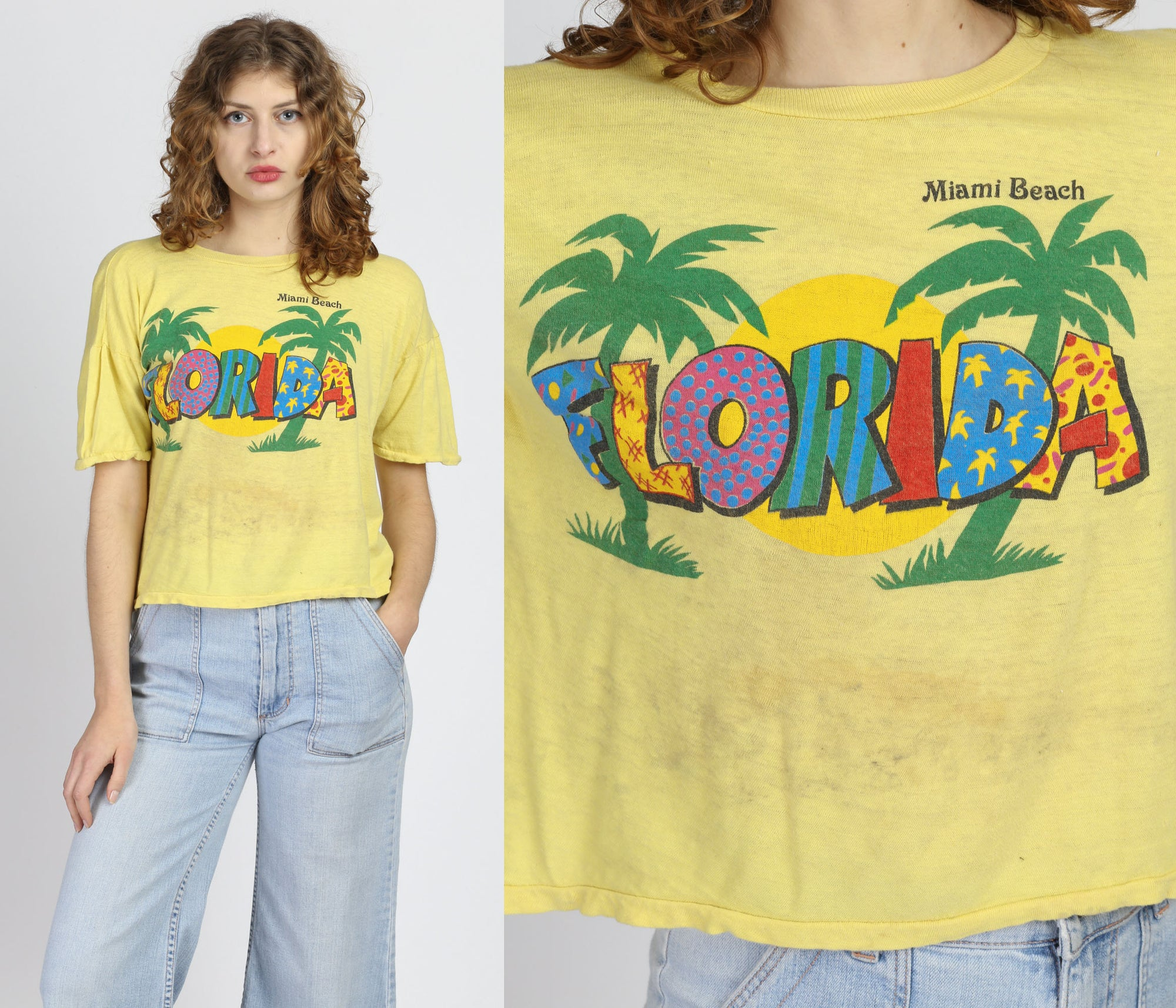80s Miami Beach Florida Cropped Tourist Tee - Medium