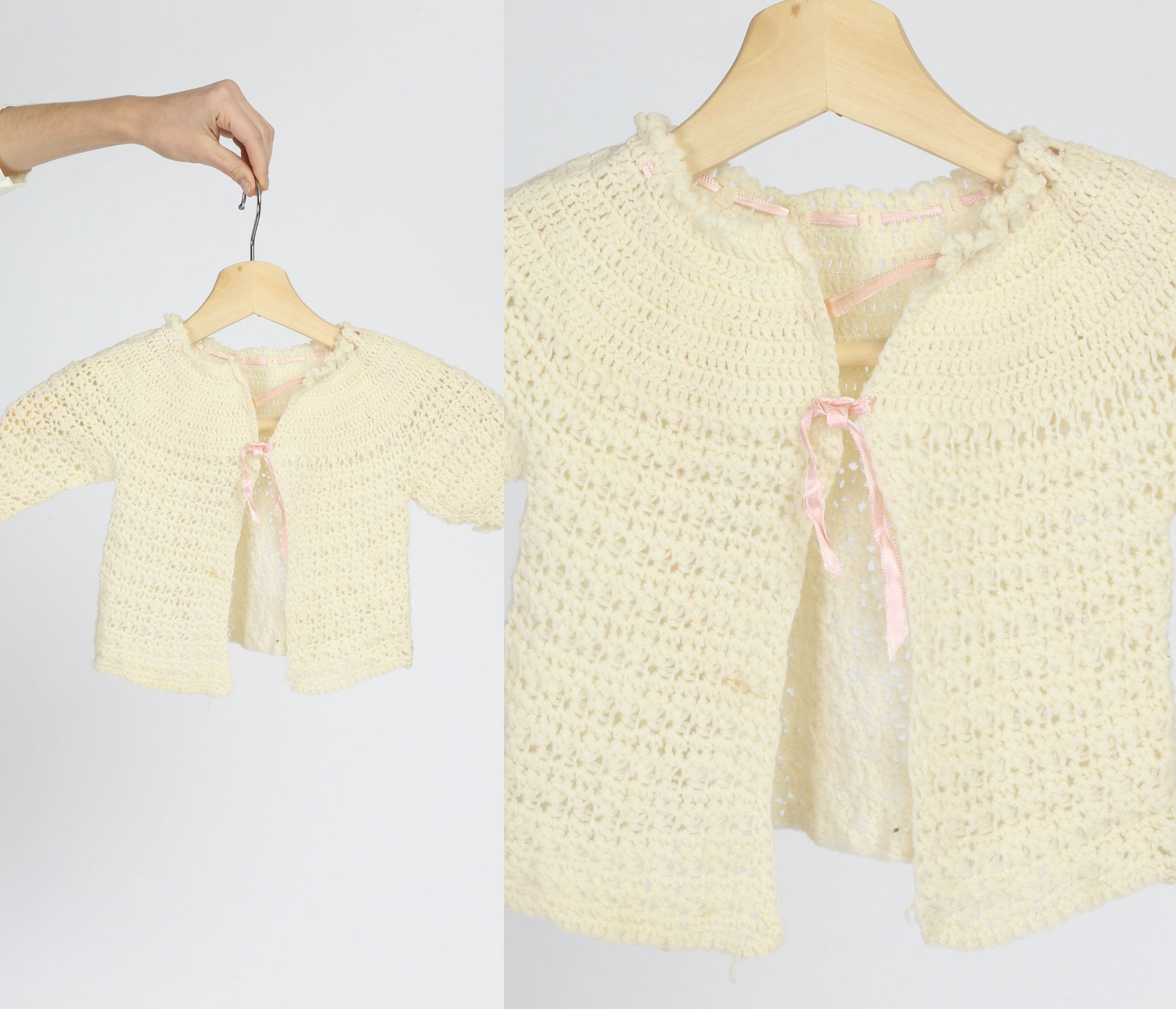 Vintage Hand Knit Baby Cardigan Sweater