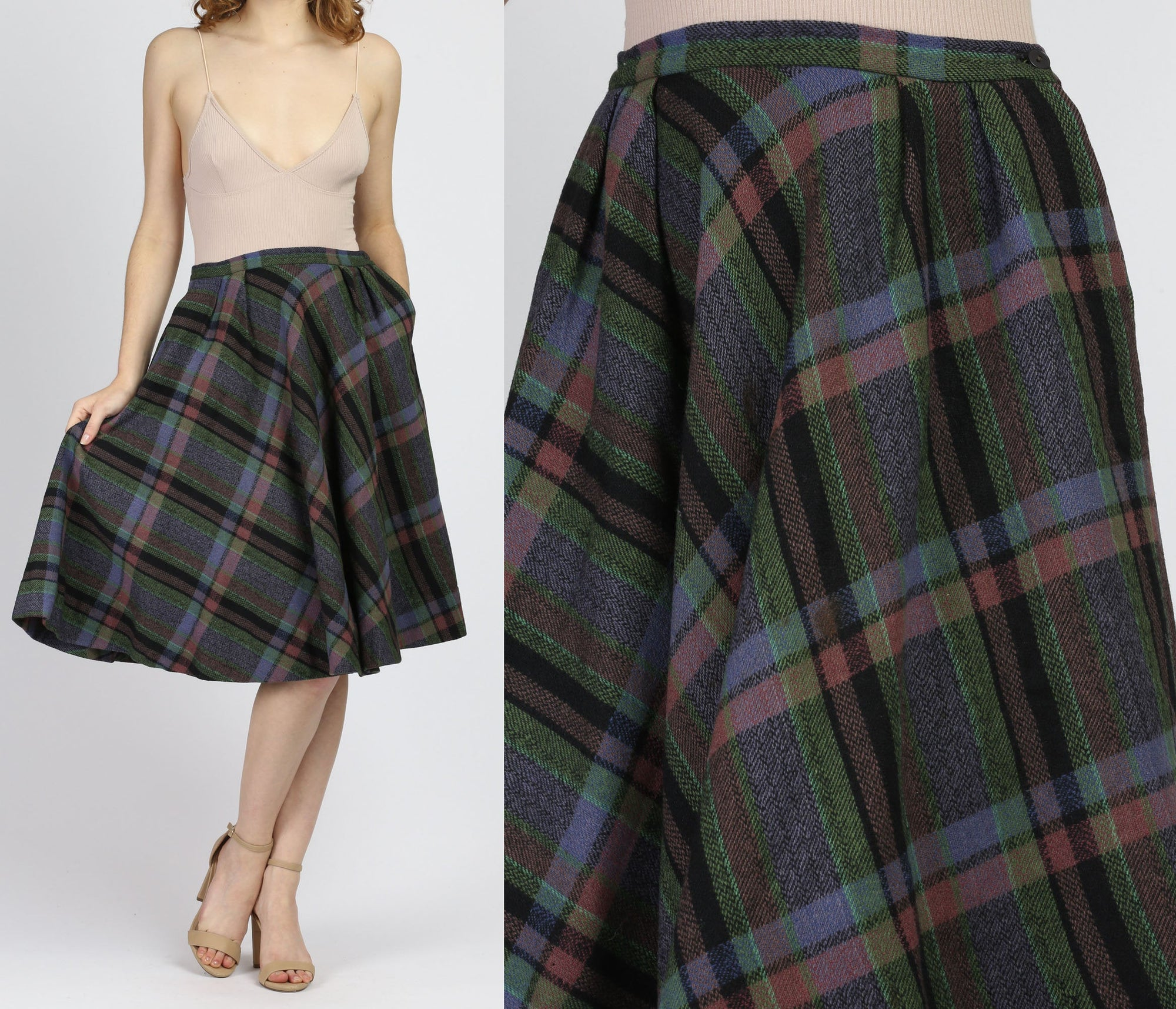 70s Plaid Wool Midi Skirt - Small, 27""