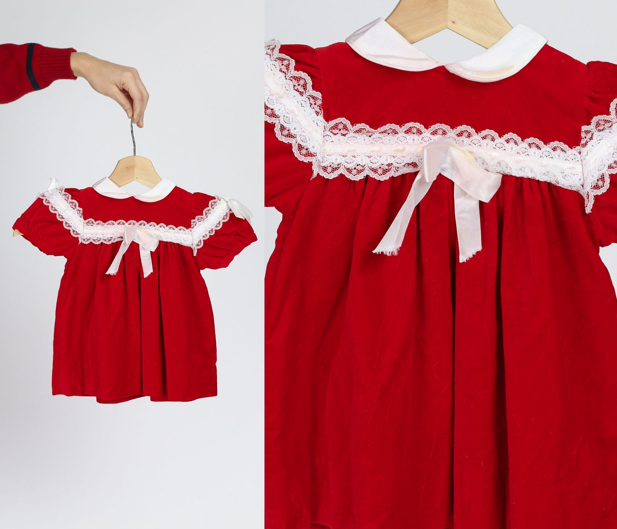 70s Red Velvet Baby Holiday Party Dress - 12-18 Months