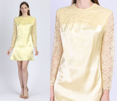 60s Yellow Satin & Lace Mini Dress - Medium