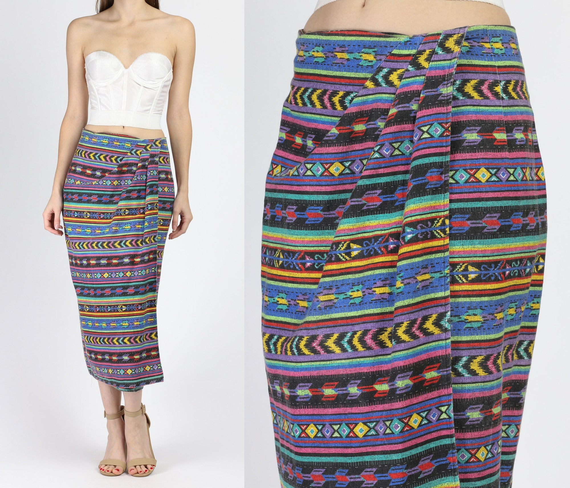 90s Boho Tribal Print Cotton Wrap Skirt - Medium
