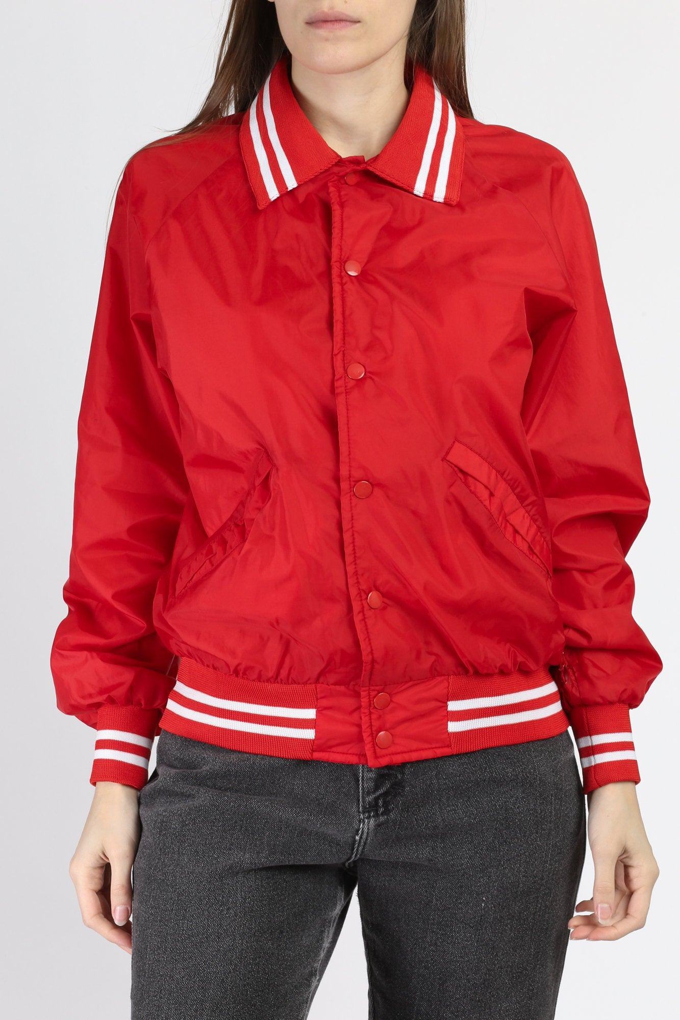 80s Red Snap Button Varsity Jacket - Small