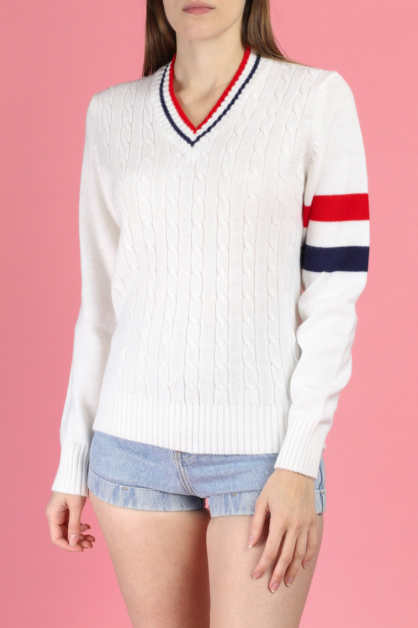70s Tennis Lady Striped Knit Sweater - Large