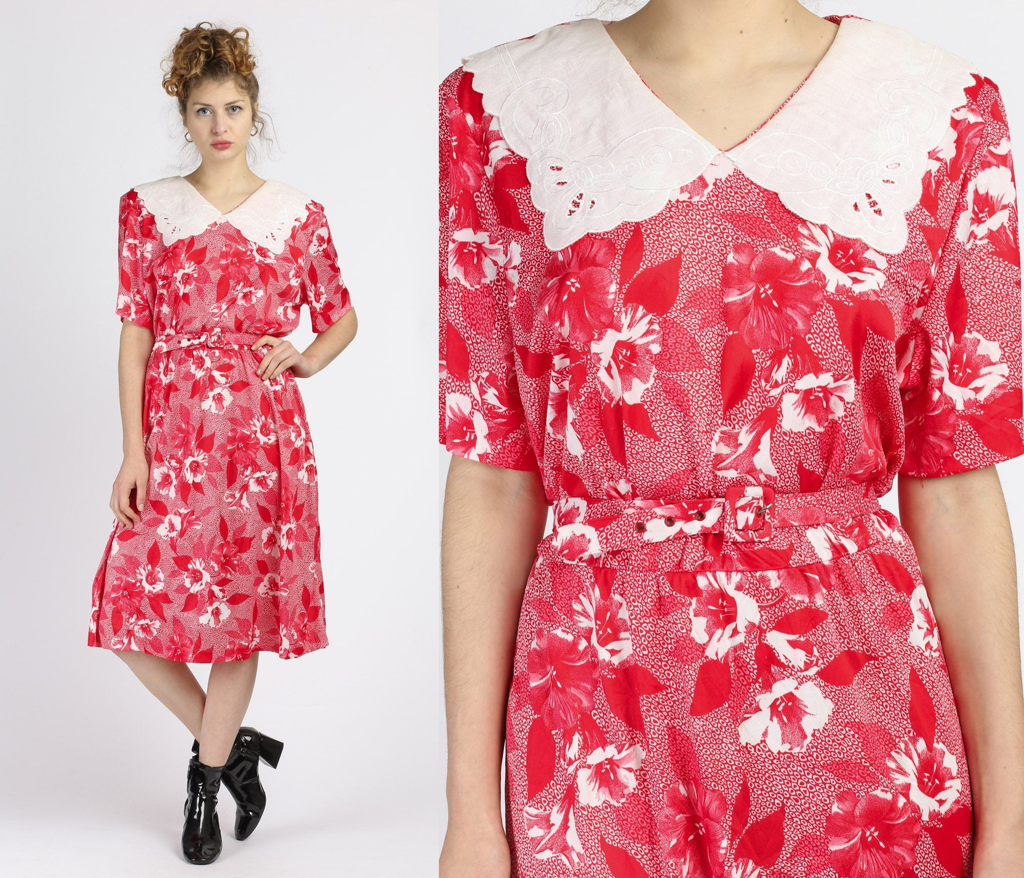 80s Red Floral Sailor Collar Midi Dress - 2XL