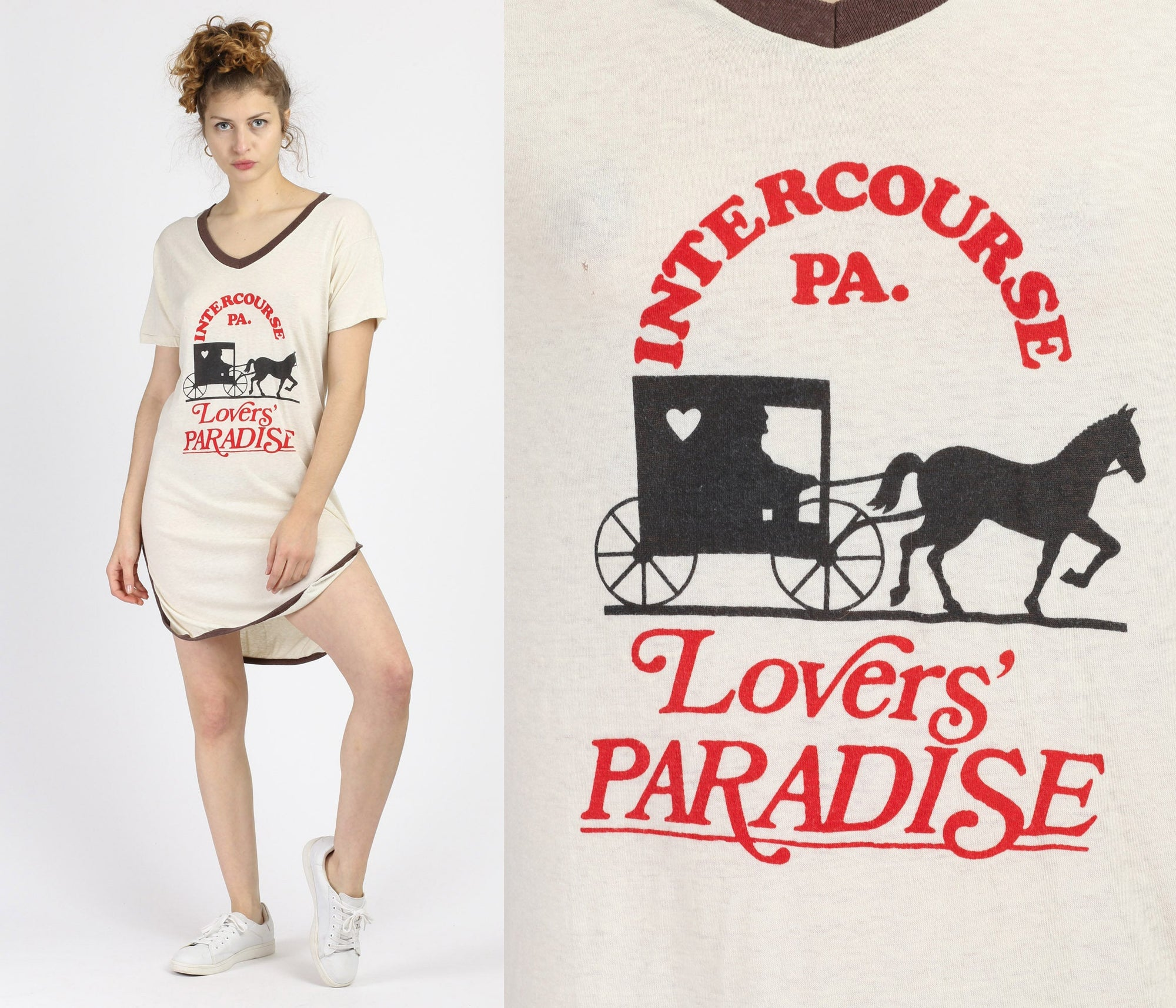 "70s 80s ""Lovers' Paradise"" Intercourse, PA Sleep Shirt - Medium"