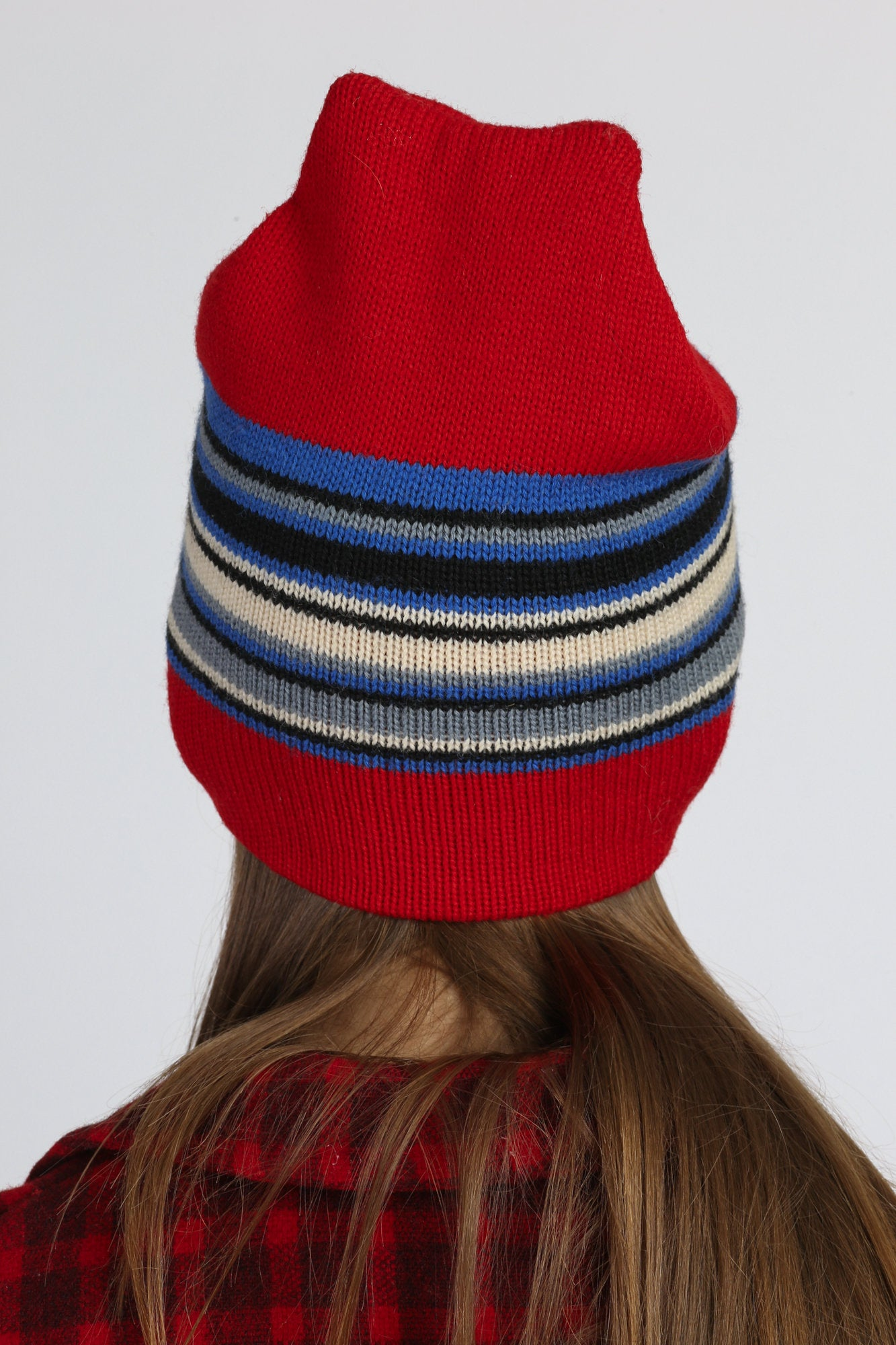 70s Red Striped Wool Knit Winter Beanie Hat - Extra Small