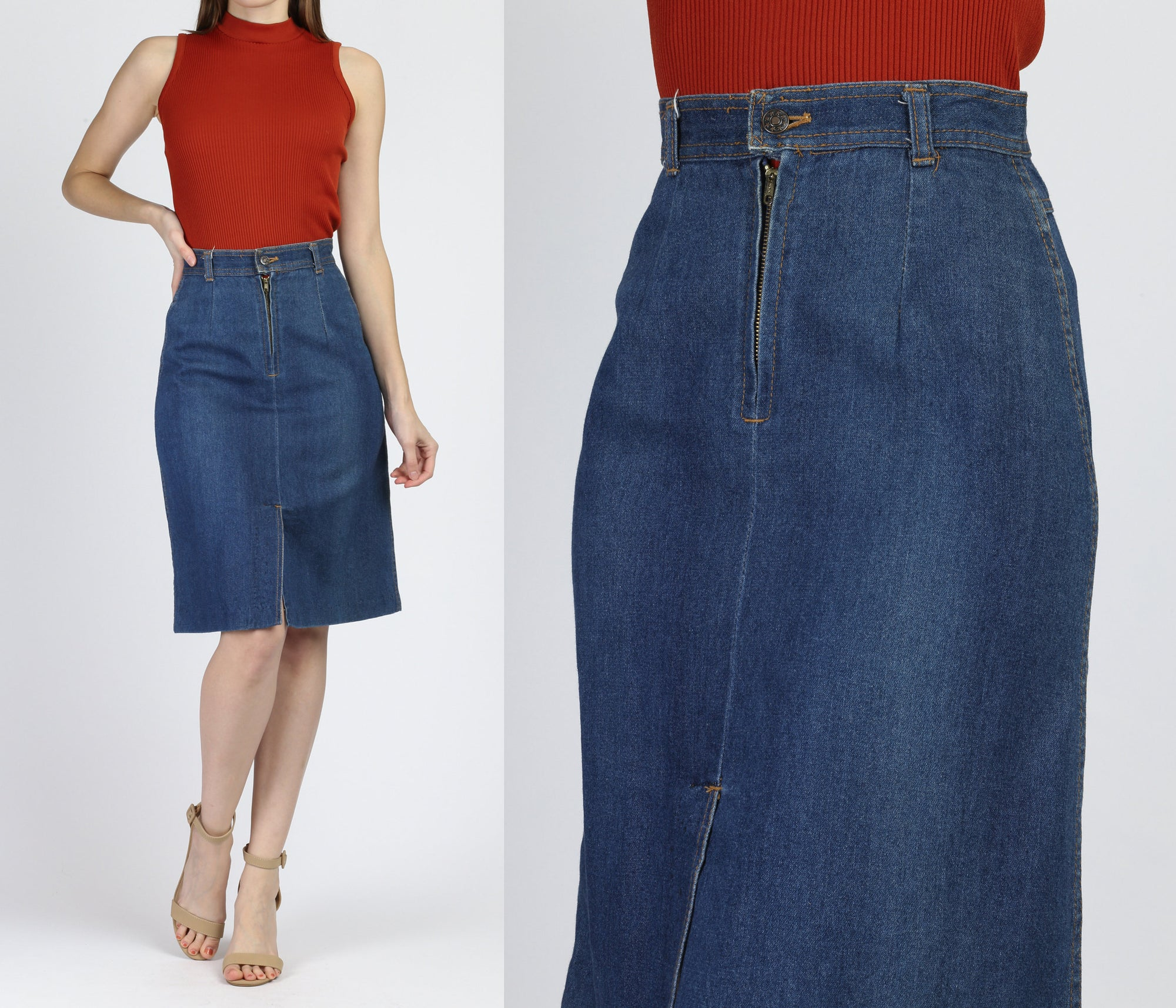 70s Dark Wash Denim Skirt - Extra Small
