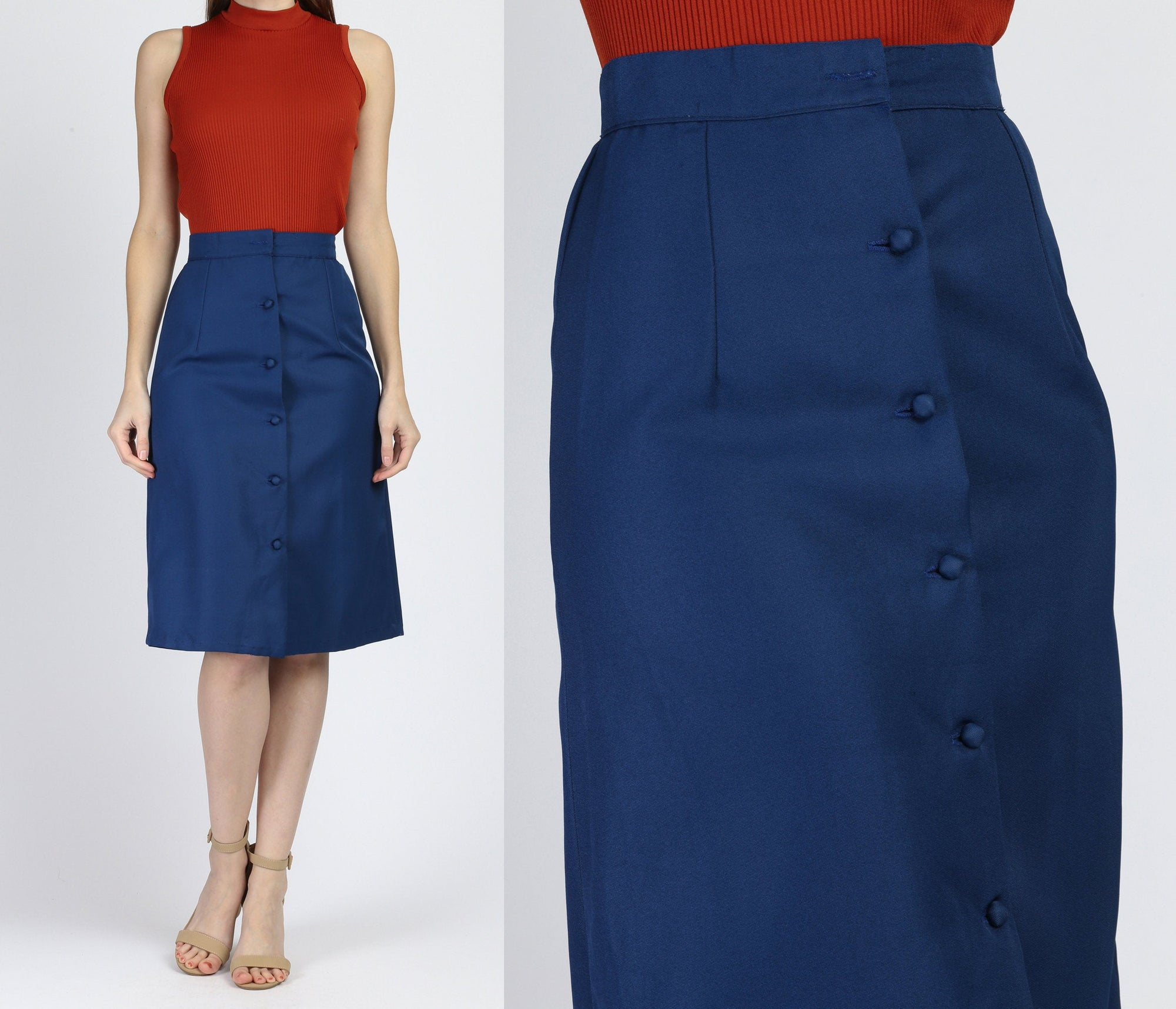70s Navy Blue Button Through Skirt - Extra Small