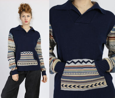 70s Navy Blue Tribal Sweater Top - Large