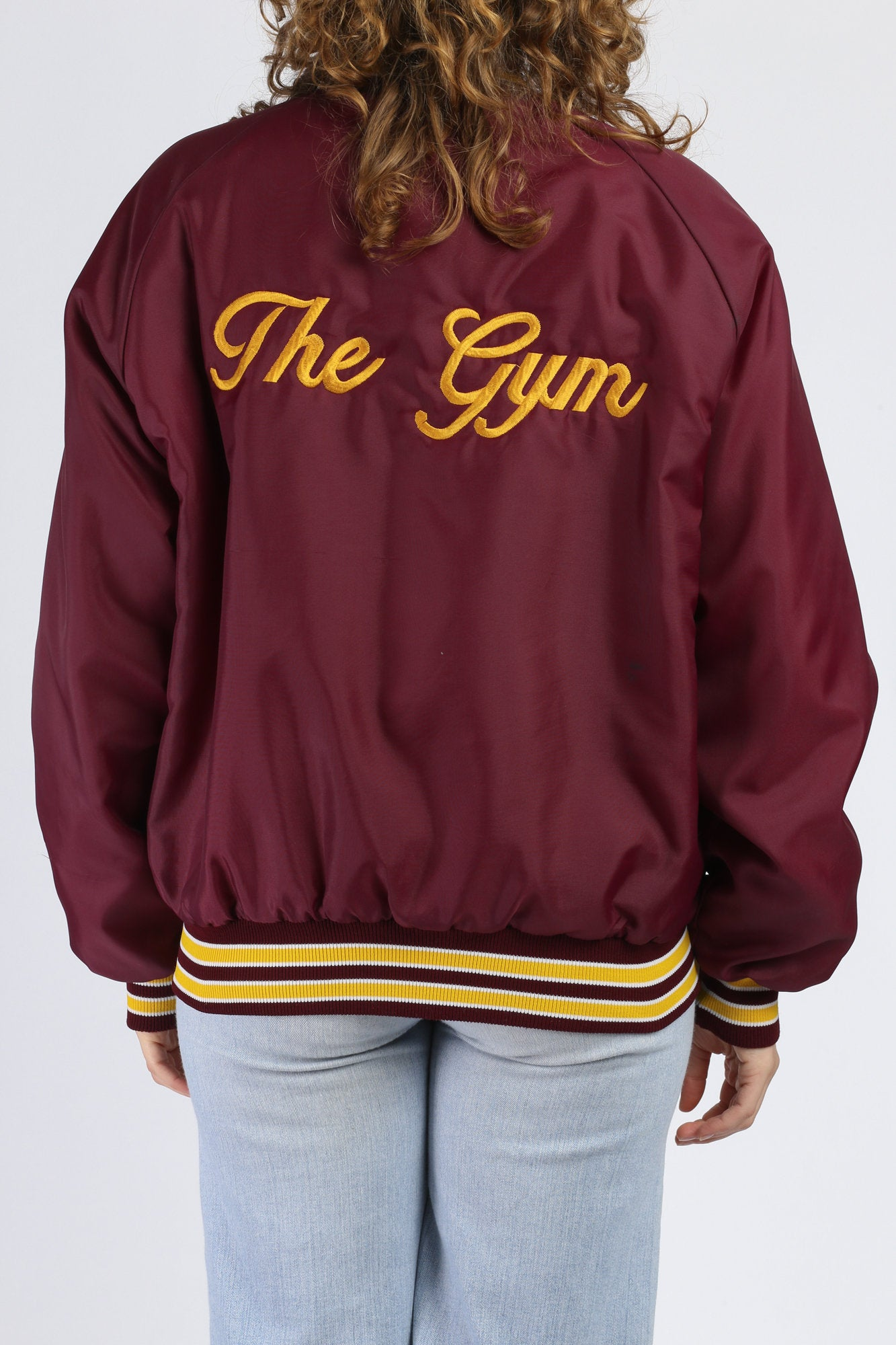 "80s ""The Gym"" Bodybuilder Varsity Jacket - Men's Large"