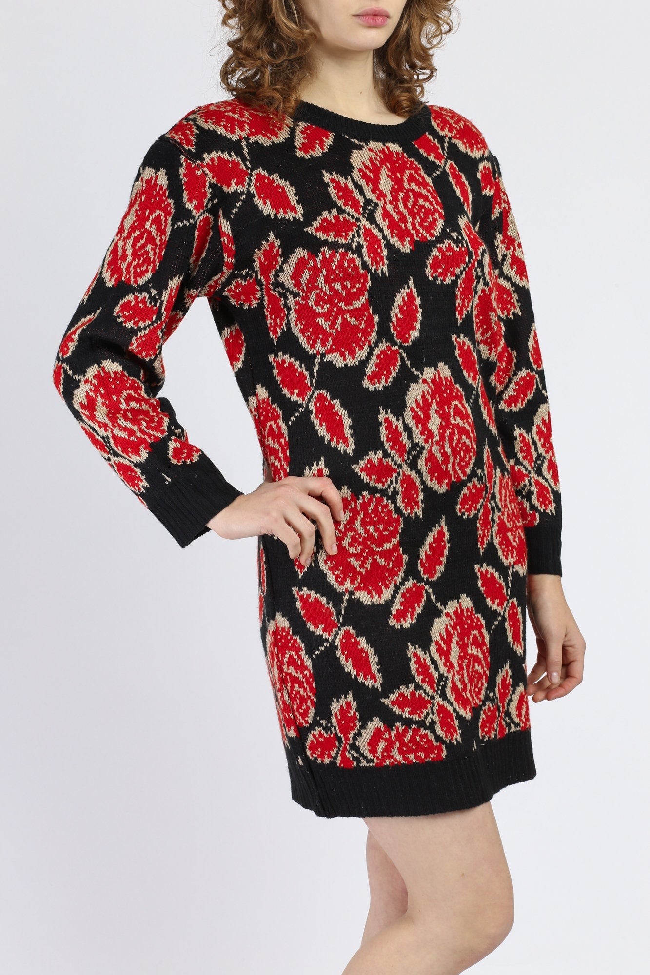 80s Red & Black Metallic Floral Sweater Dress - Small