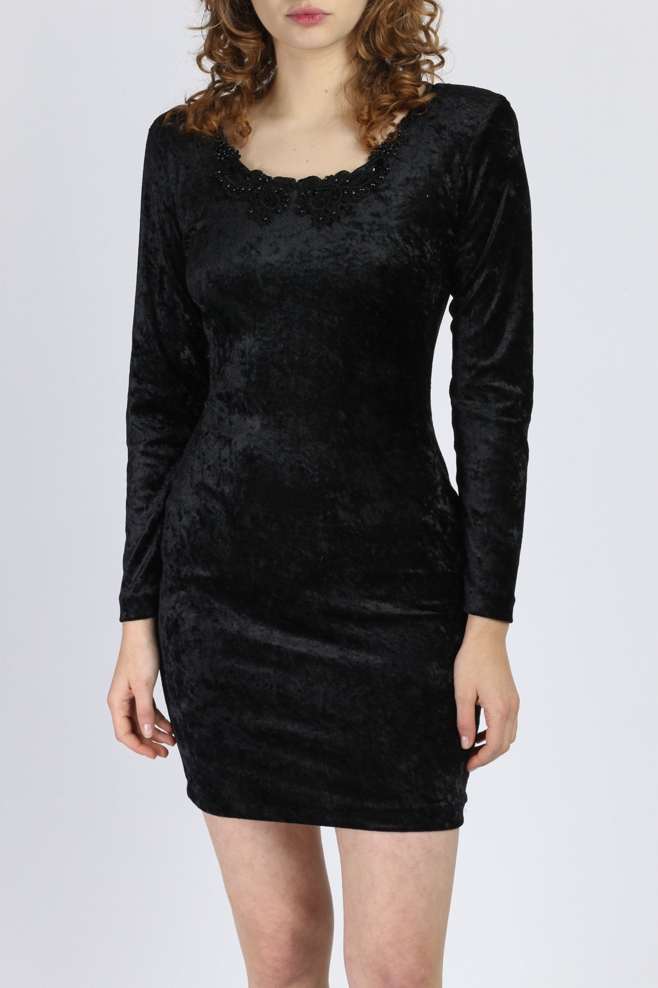 90s Black Velvet Bodycon Mini Dress - Small to Medium