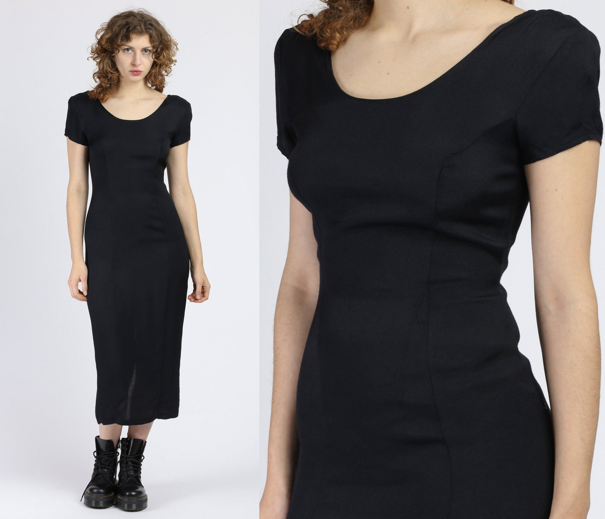90s Minimalist Black Ankle Length Dress - Small